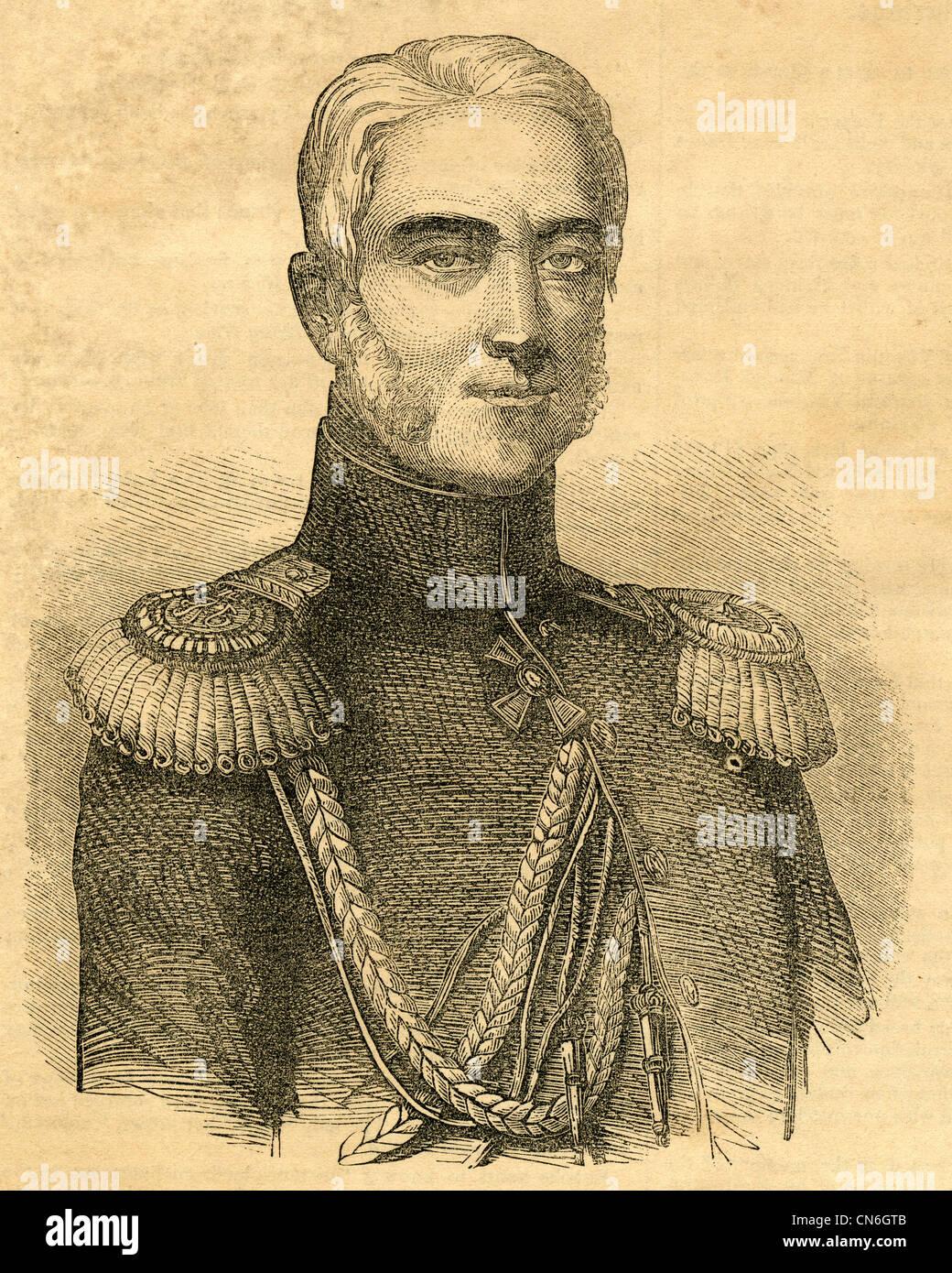 1854 engraving, Prince Mikhail Semyonovich Vorontsov (1782-1856). - Stock Image