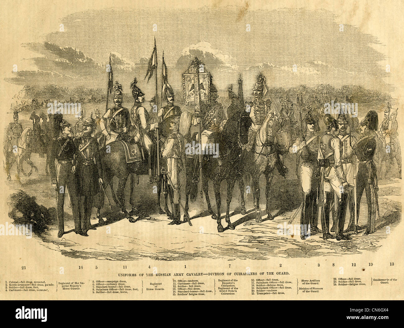 1854 engraving, Uniforms of the Russian Army Cavalry, Division of Cuirassiers of the Guard. - Stock Image