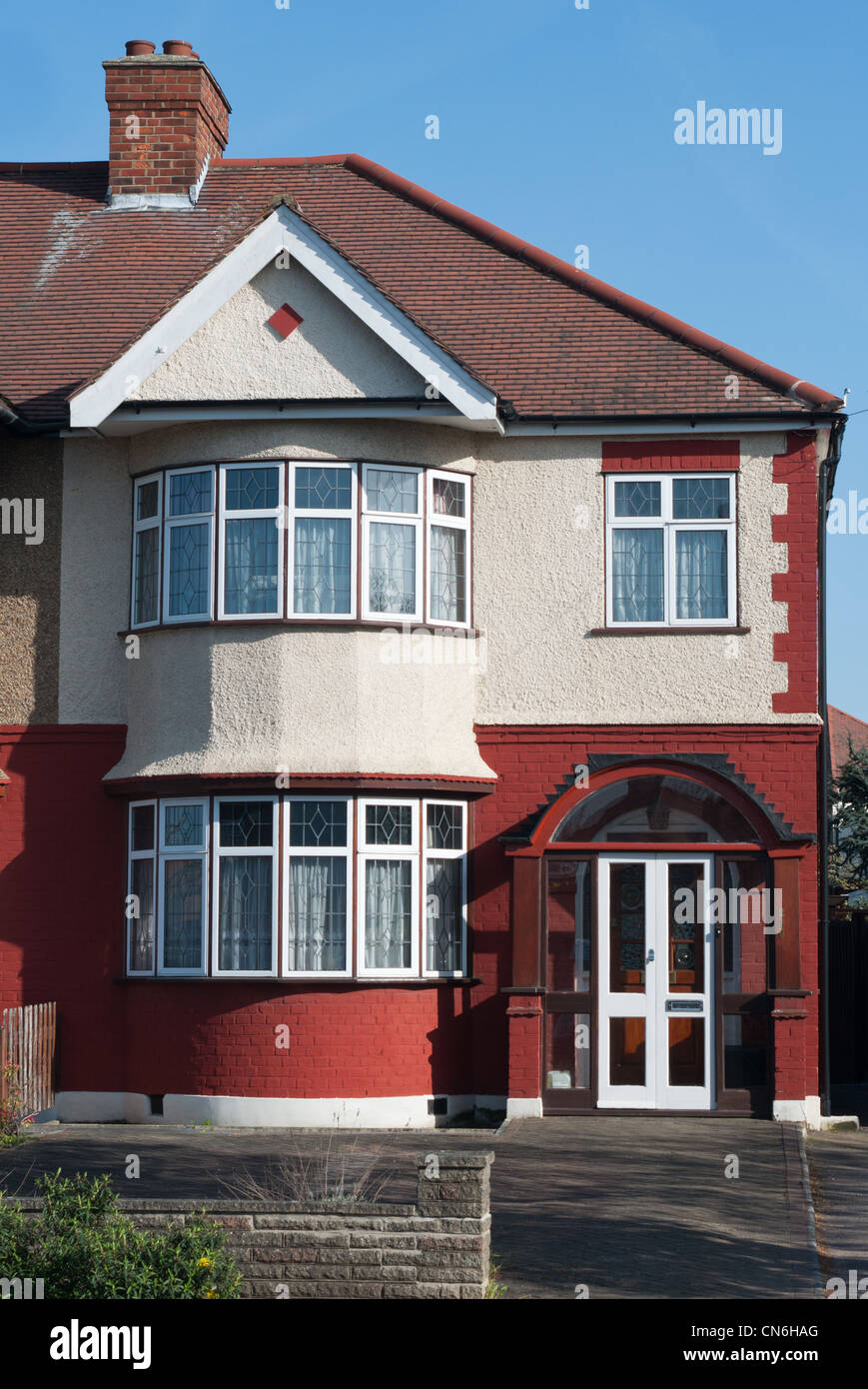 Semi detached house, in London borough of Enfield, UK - Stock Image