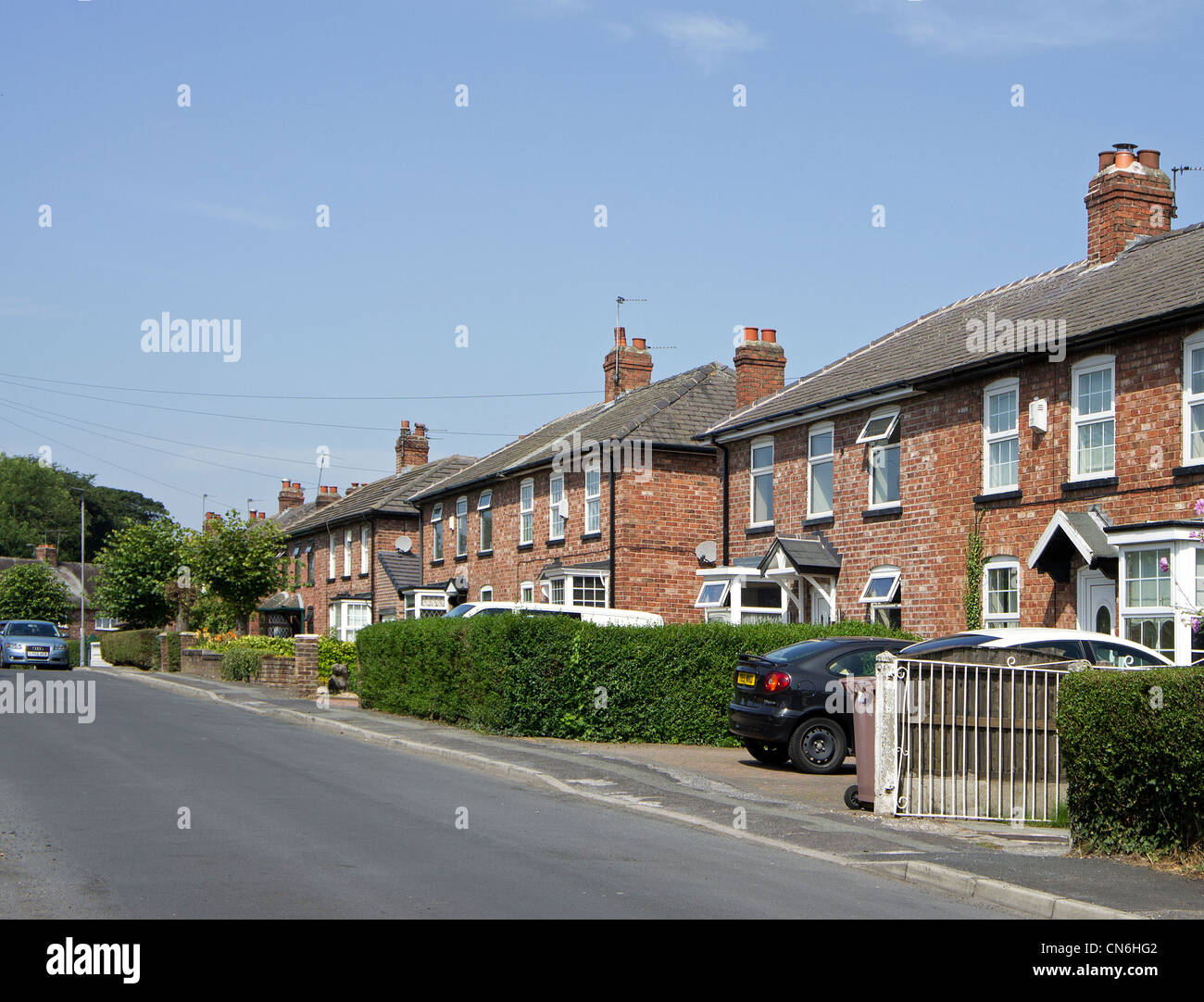 A quiet suburban street near Manchester, UK - Stock Image