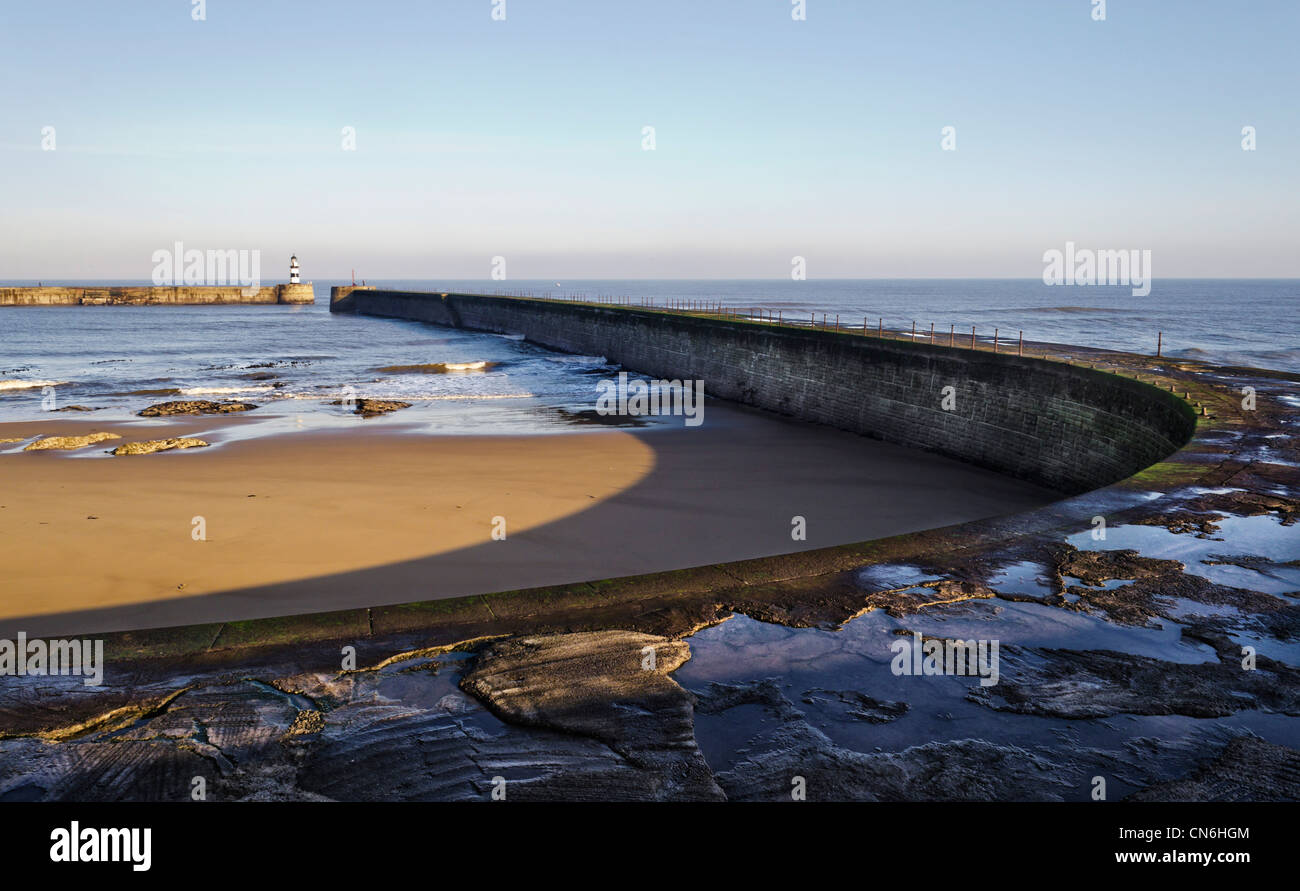 The breakwaters of the port of Seaham, County Durham - Stock Image