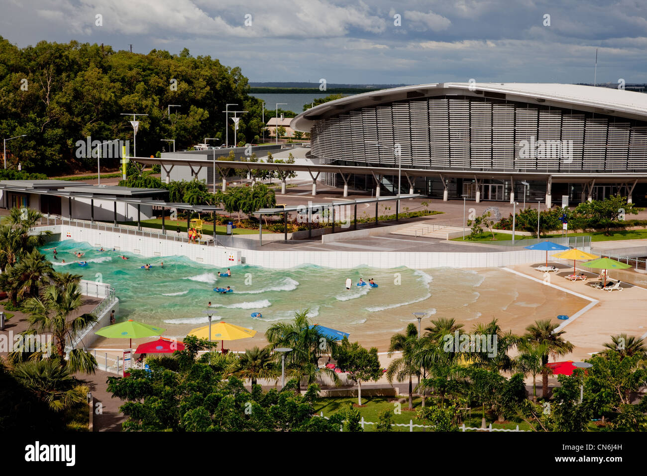 Wave pool at foreshore. Darwin Australia. - Stock Image