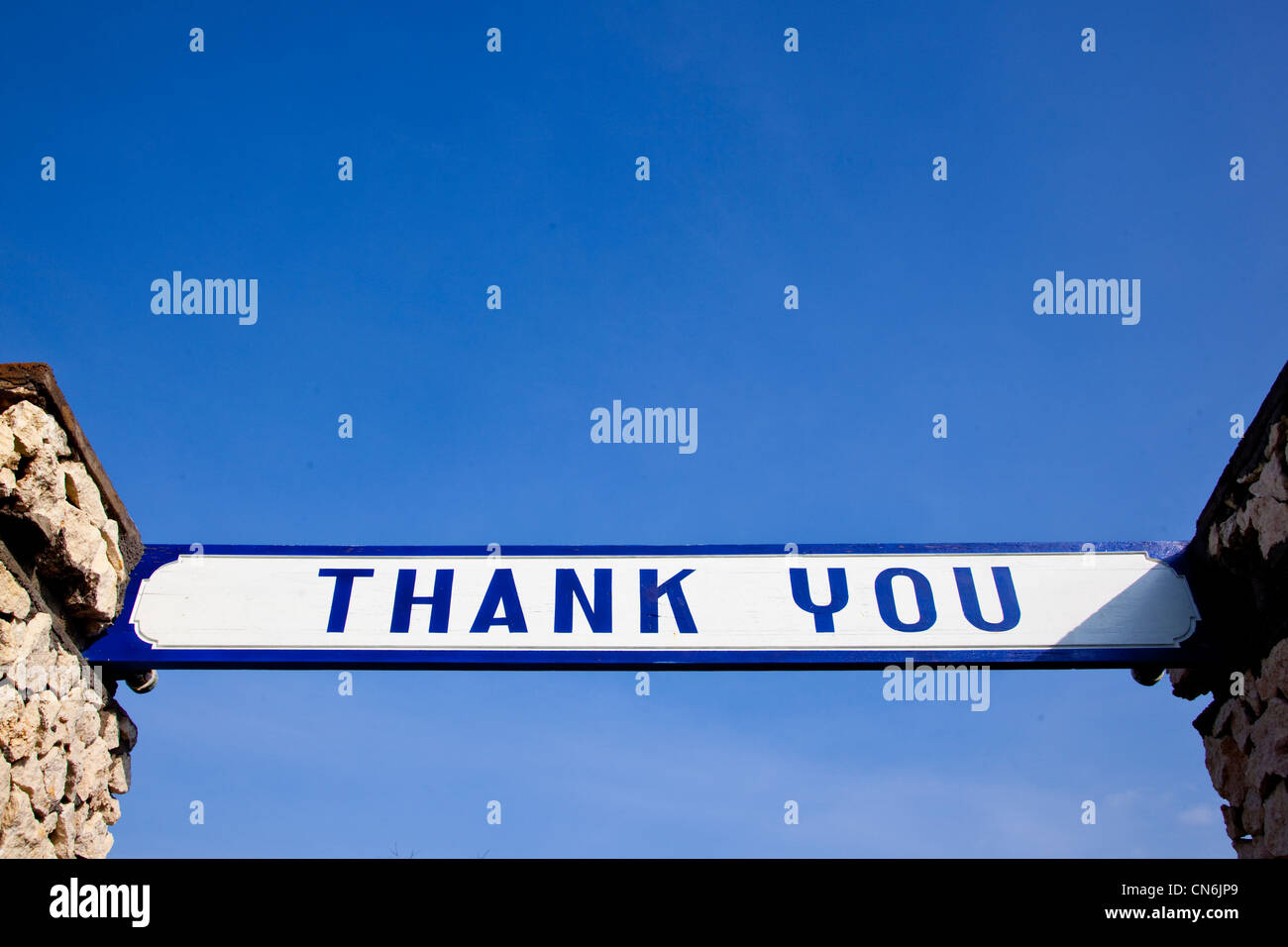 Thank you sign at temple. Bali Indonesia. - Stock Image