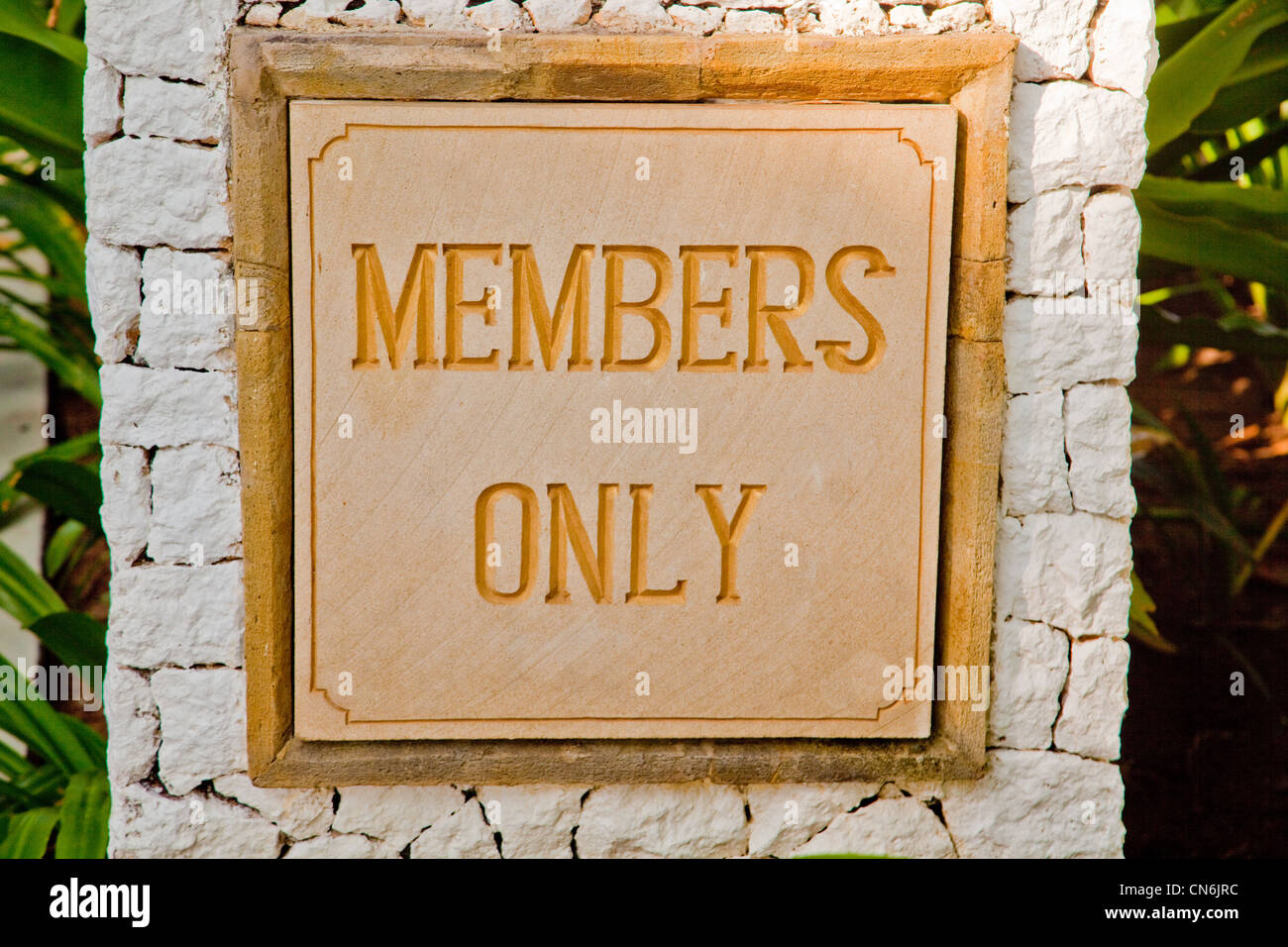 Members only sign - Stock Image