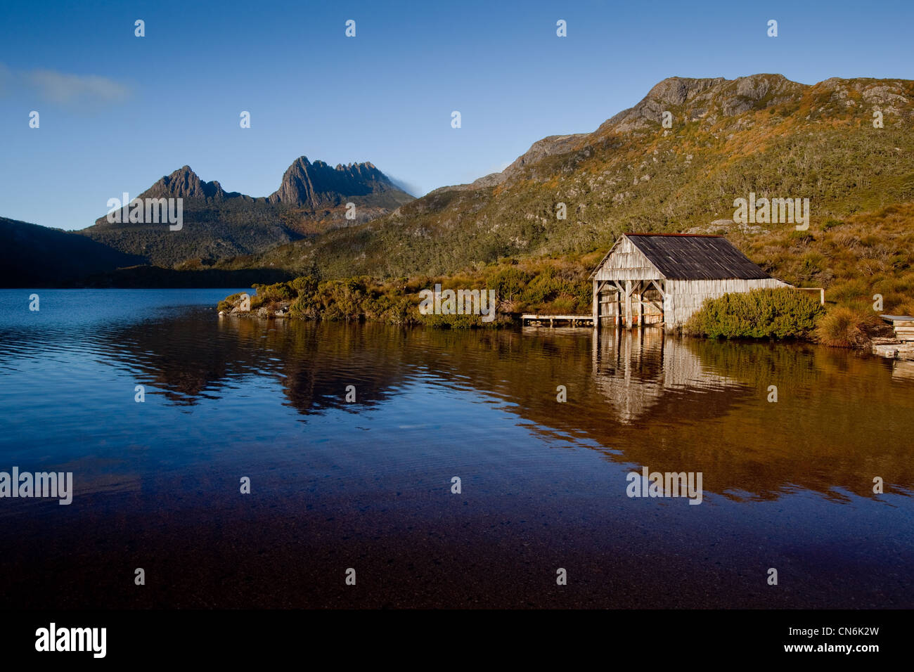 Wooden boat shed Cradle Mountain Tasmania Australia Stock Photo