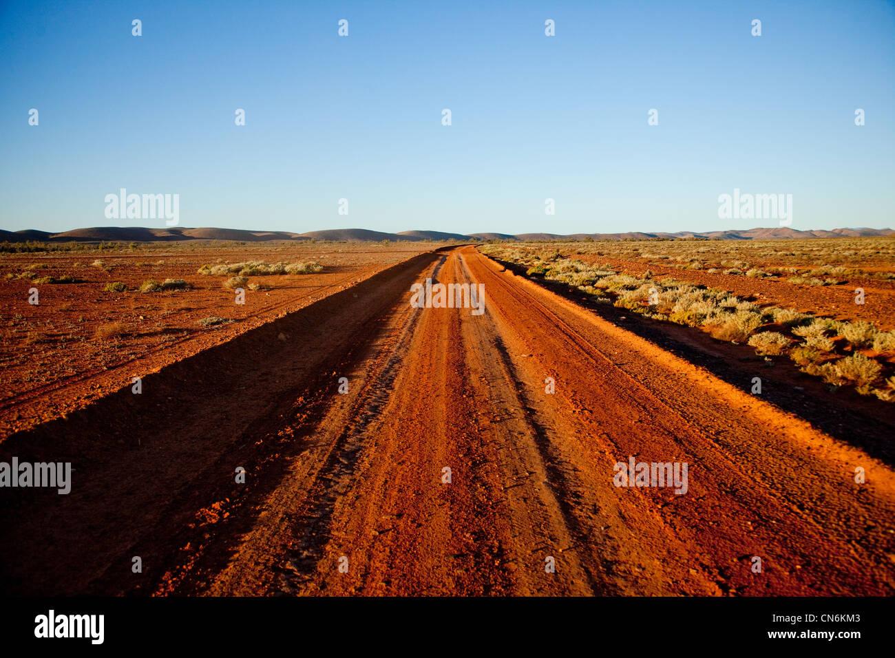 Desert road. Outback Australia. Stock Photo