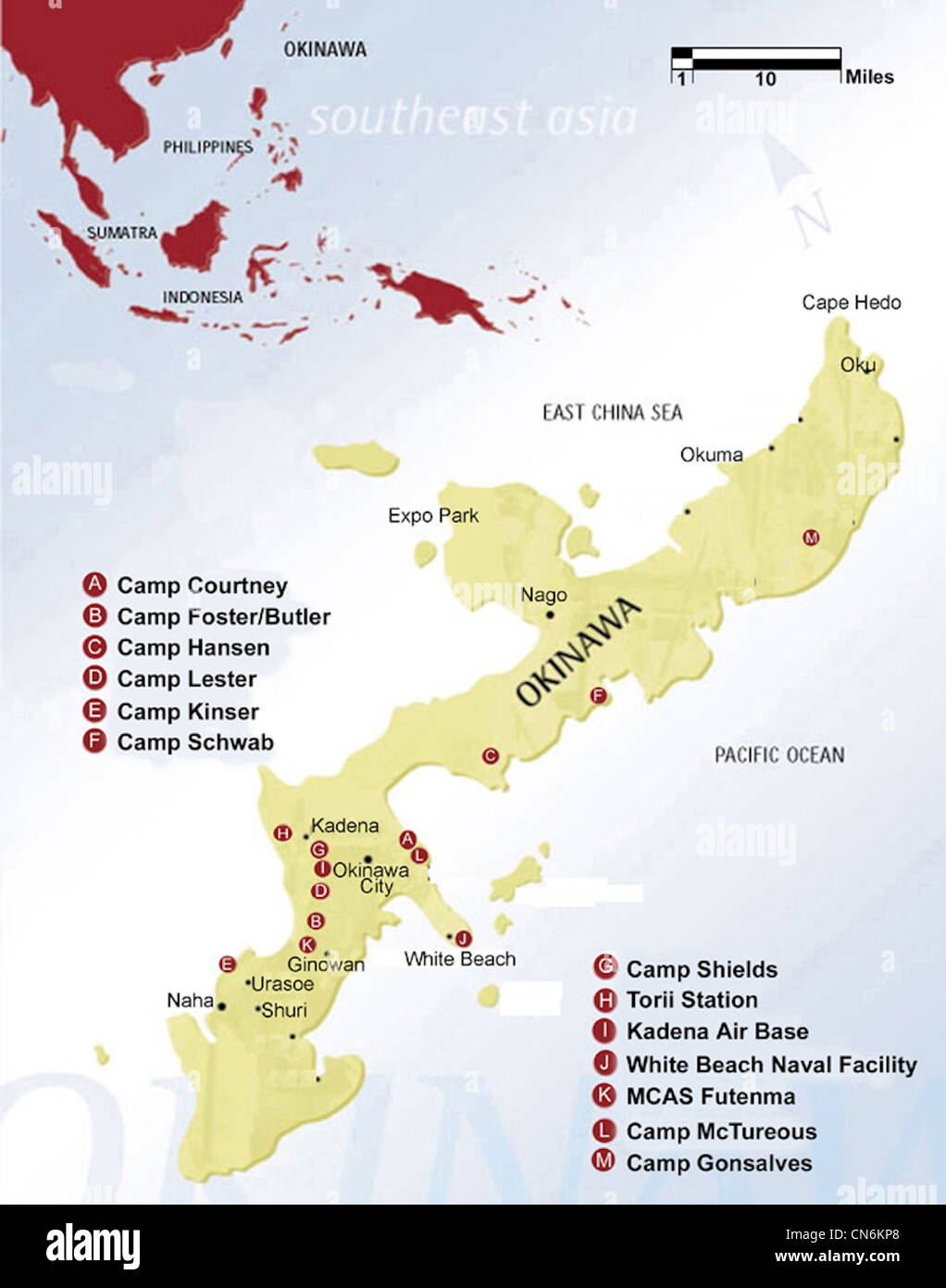 Map of Okinawa showing locations of US Bases Stock Photo 47475744