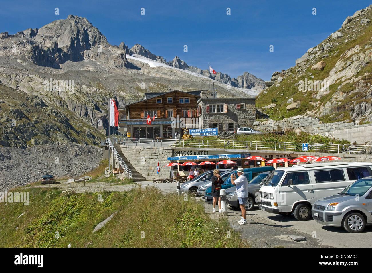 Belvedere overlooking Rhonegletscher on the Furka Pass in Switzerland Stock Photo