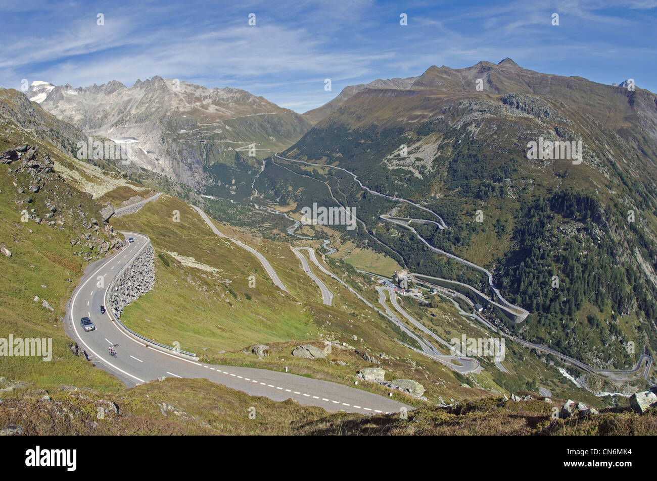 Rhone Valley and Gletsch with the Rhone Glacier from the Grimsel Pass in the Canton of Valais in Switzerland Stock Photo