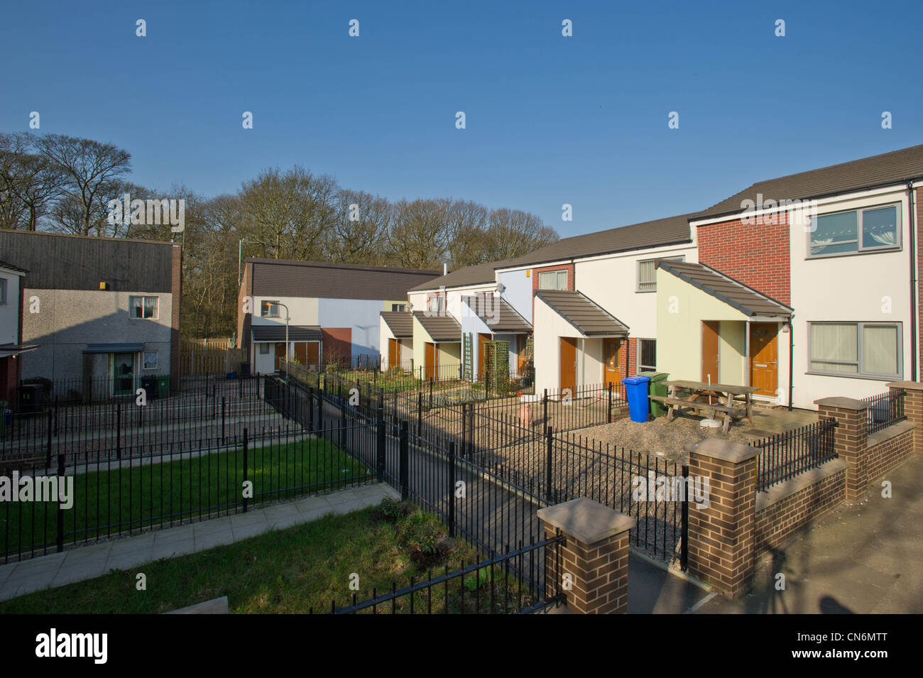 Refurbished housing in Sheffield with gardens - Stock Image