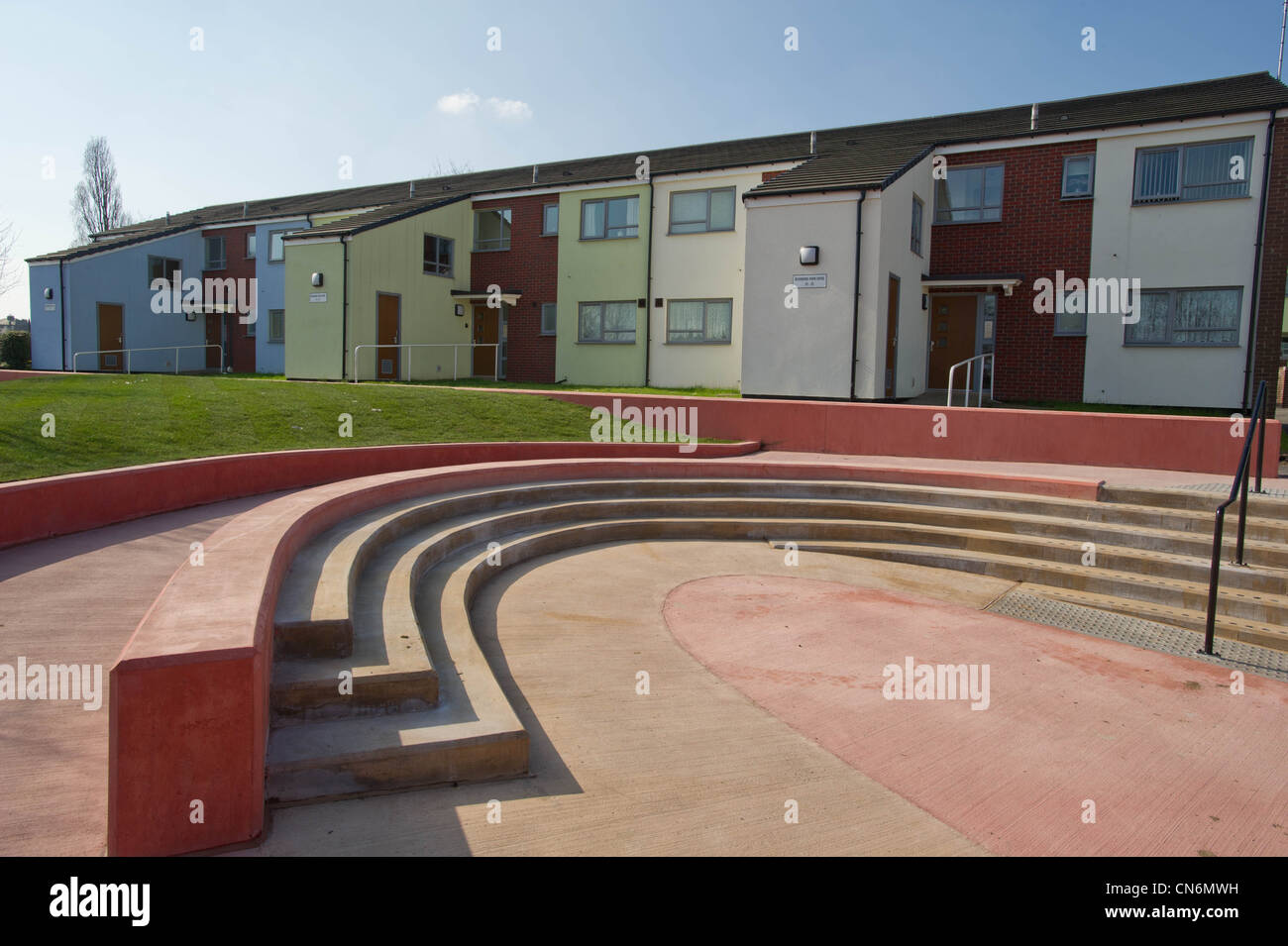 Public space on a new build social housing project Stock Photo