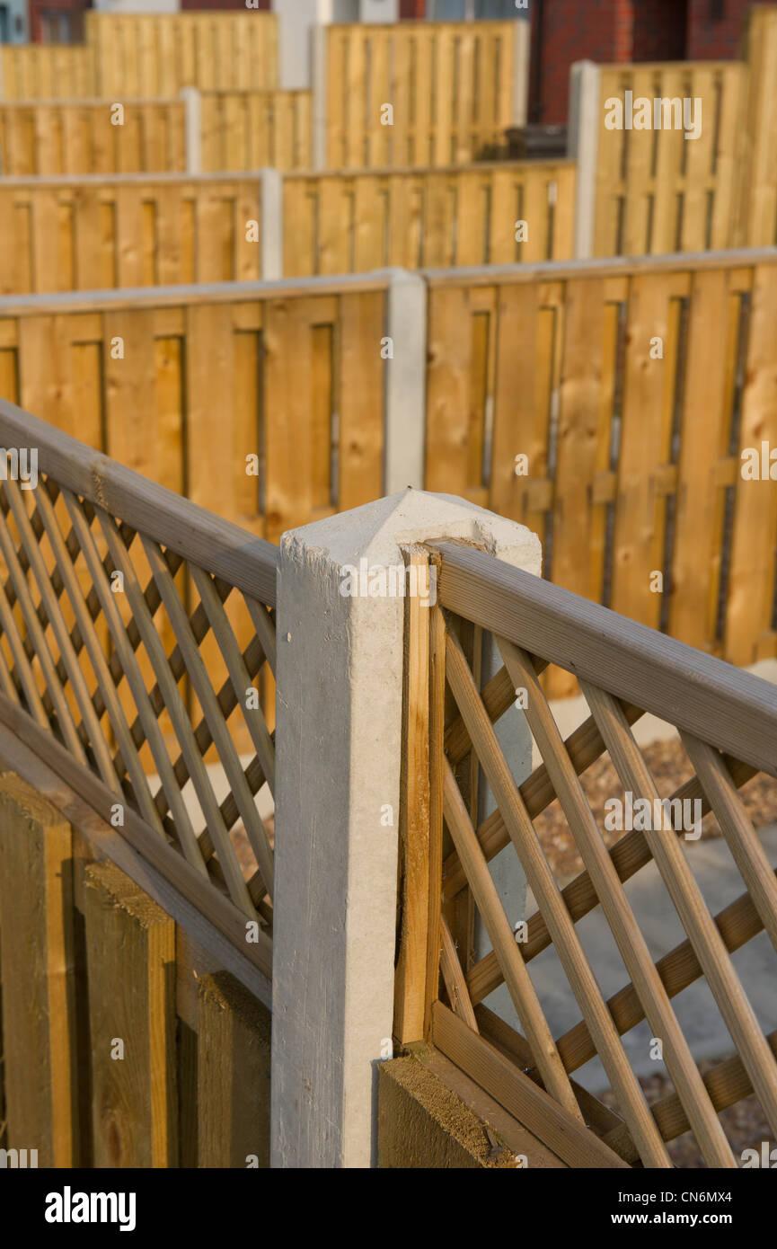 Garden fences for new build social housing - Stock Image