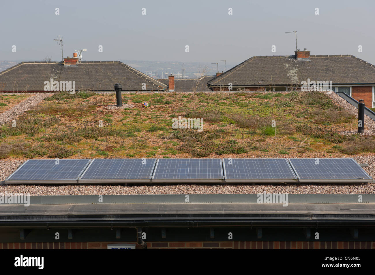 New build social housing with solar panels and a green roof - Stock Image