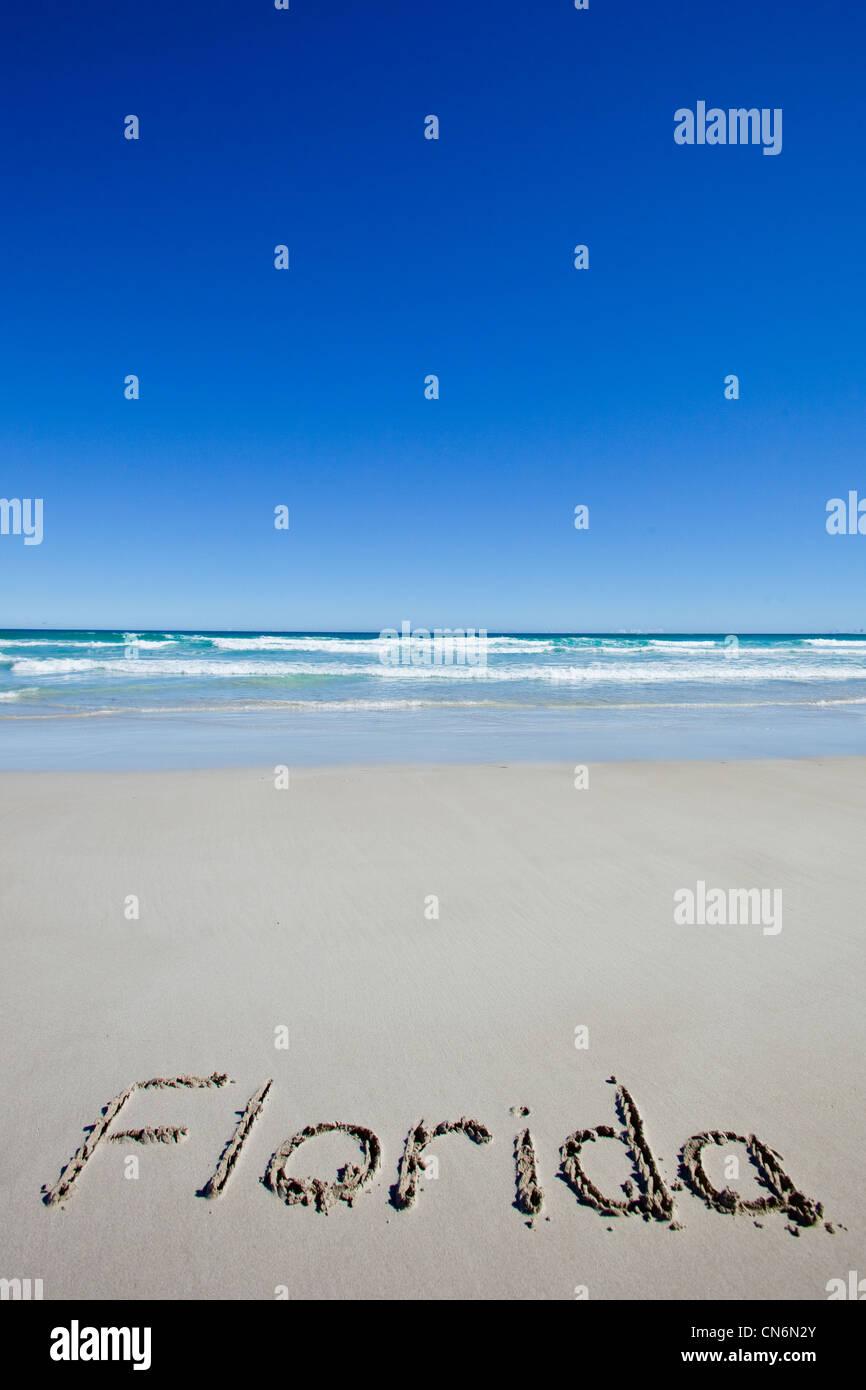 Florida written on beach - Stock Image