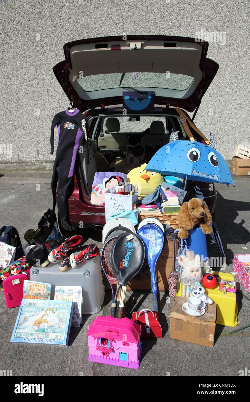 Toys on sale, Merchants Yard Car Boot Sale, Dublin, Ireland - Stock Image