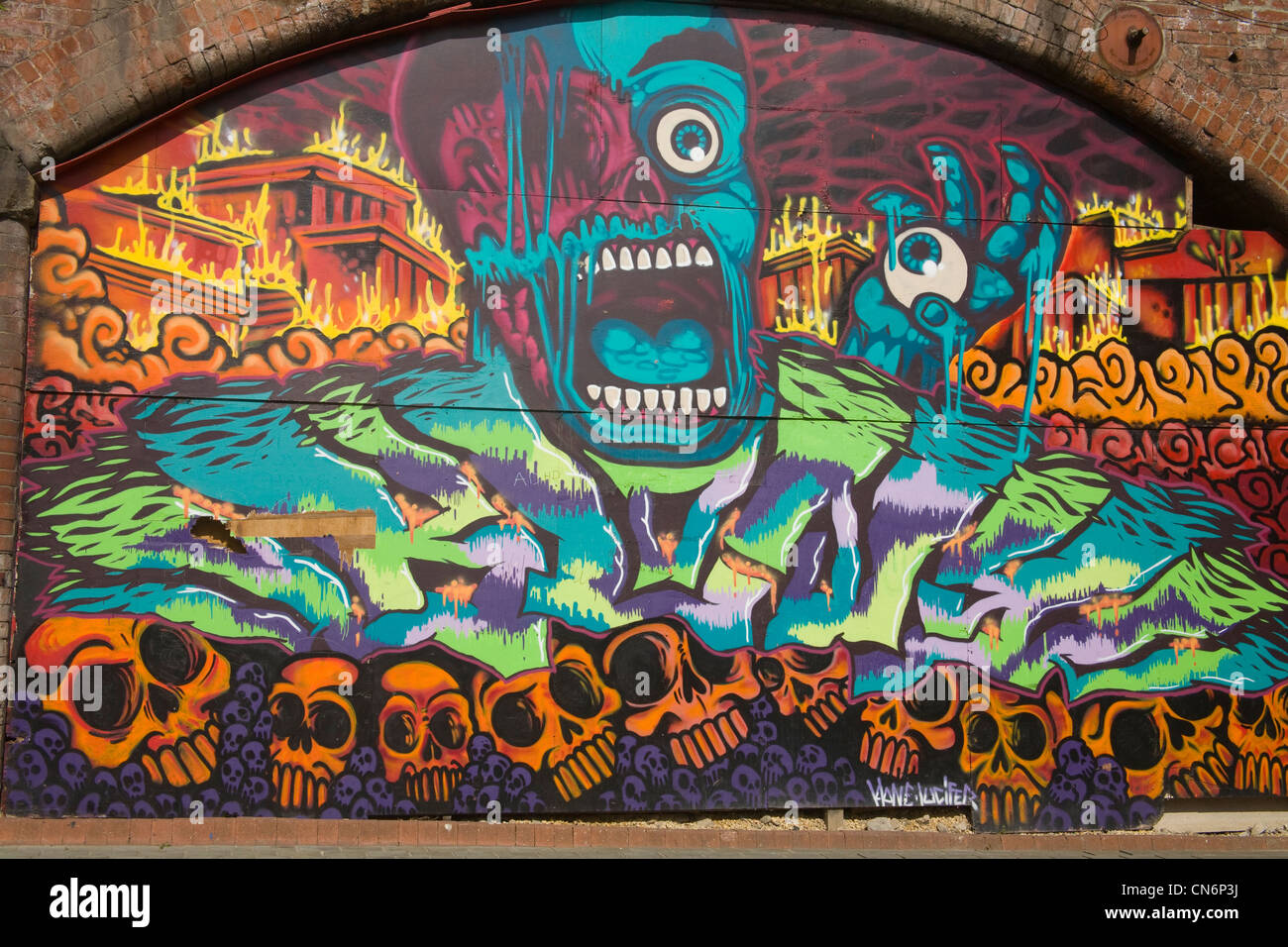 Leeds West Yorkshire England A wall covered in horror themed art work - Stock Image