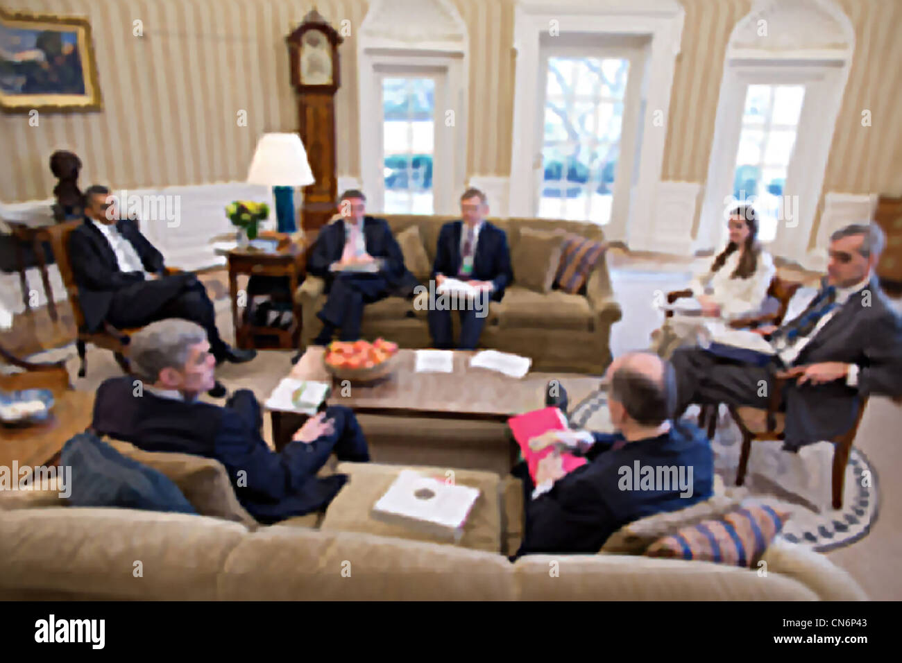President Barack Obama meets with National Security staff in the Oval Office March 8, 2012 in Washington, DC. - Stock Image