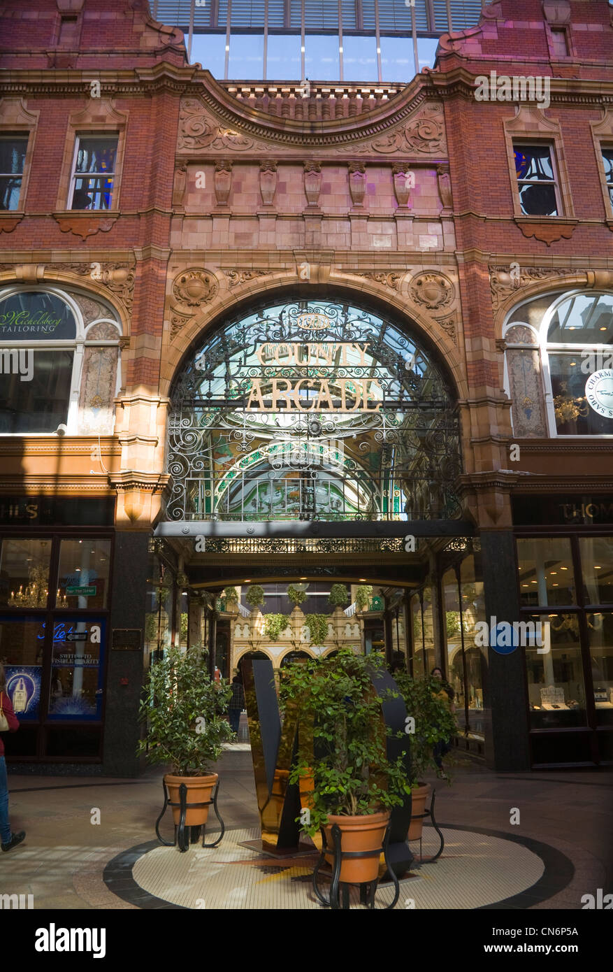 Leeds West Yorkshire England Reiss Department store in Victorian design County Arcade - Stock Image