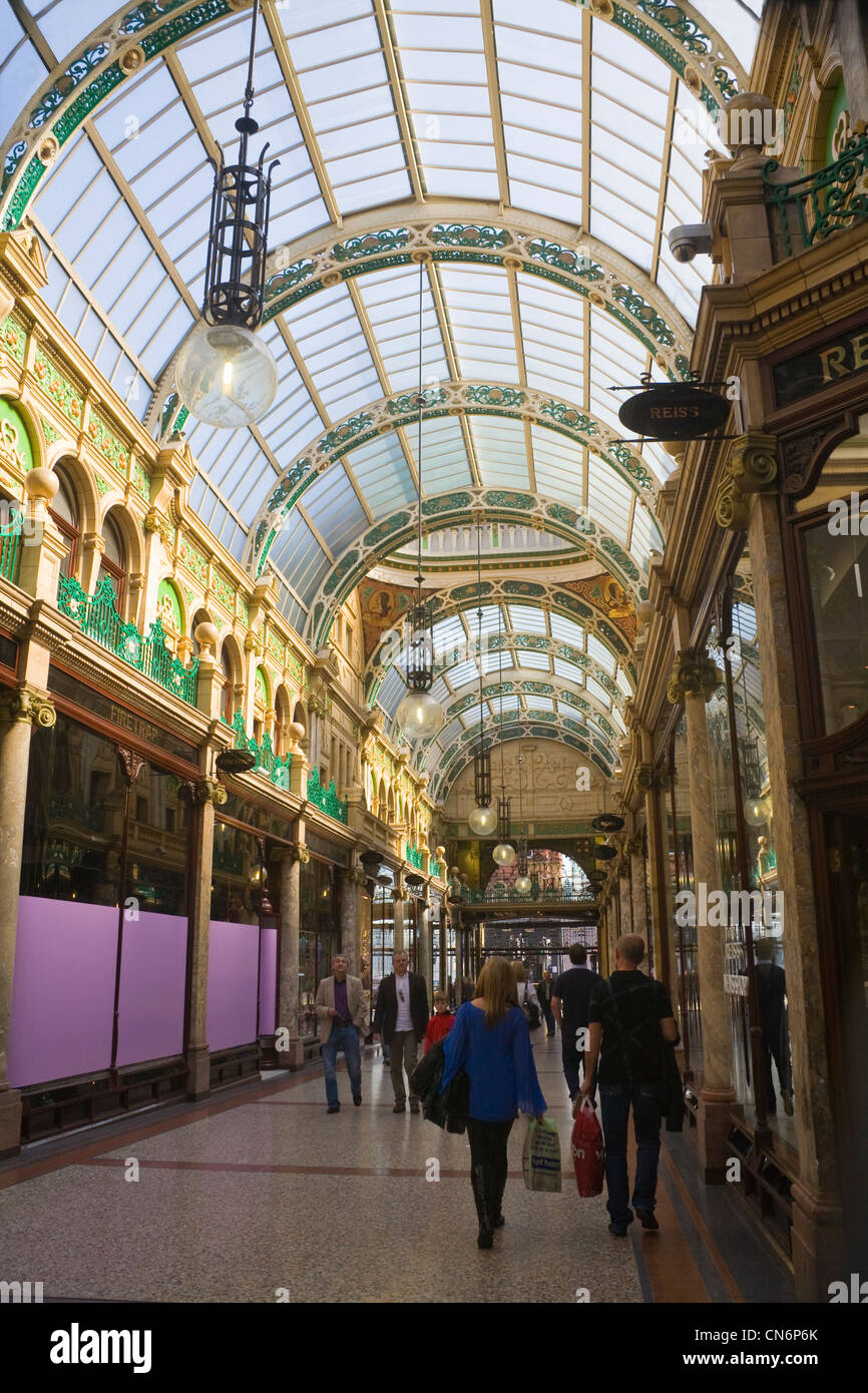 Leeds West Yorkshire England Glass covered Victorian design County Arcade Victoria area - Stock Image