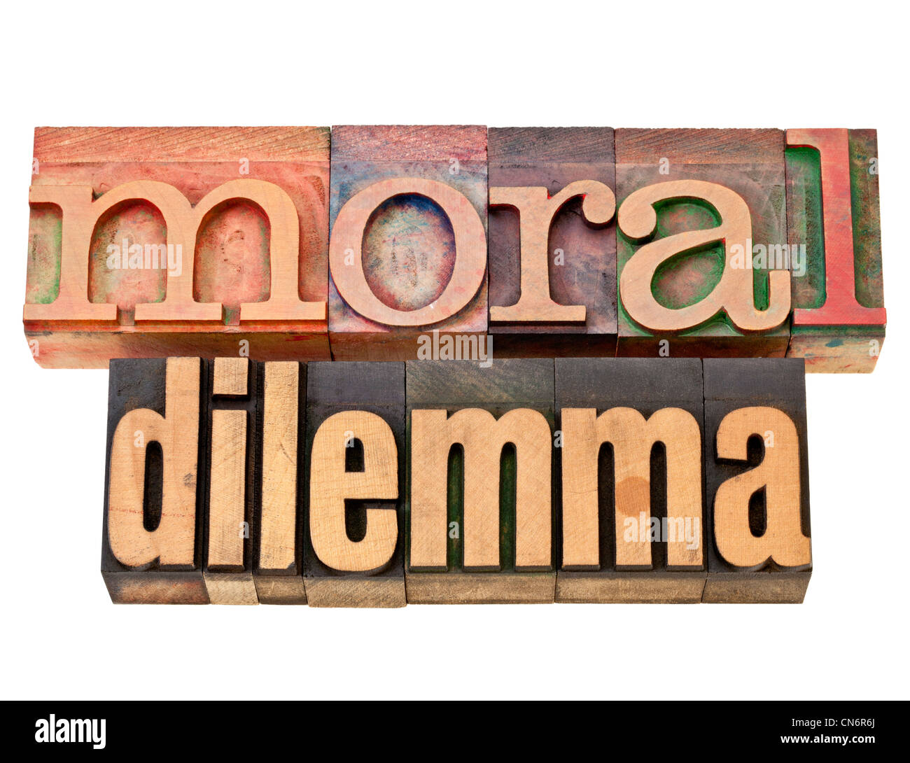 moral dilemma - ethics concept - isolated text in vintage letterpress wood type - Stock Image