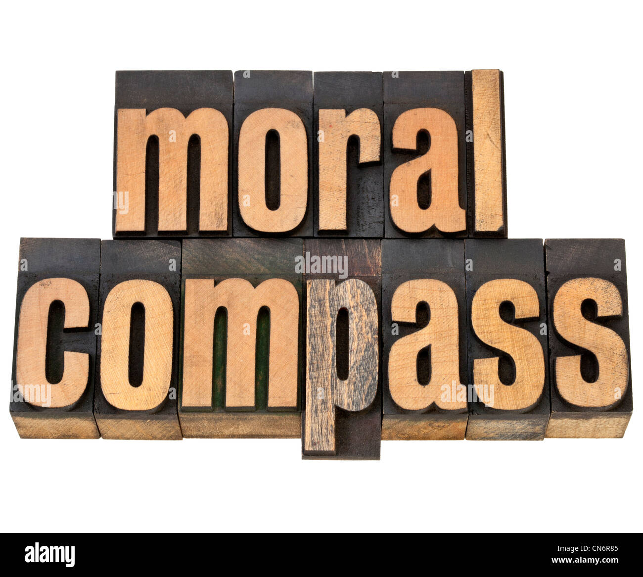 moral compass- ethics concept - isolated phrase in vintage letterpress wood type - Stock Image