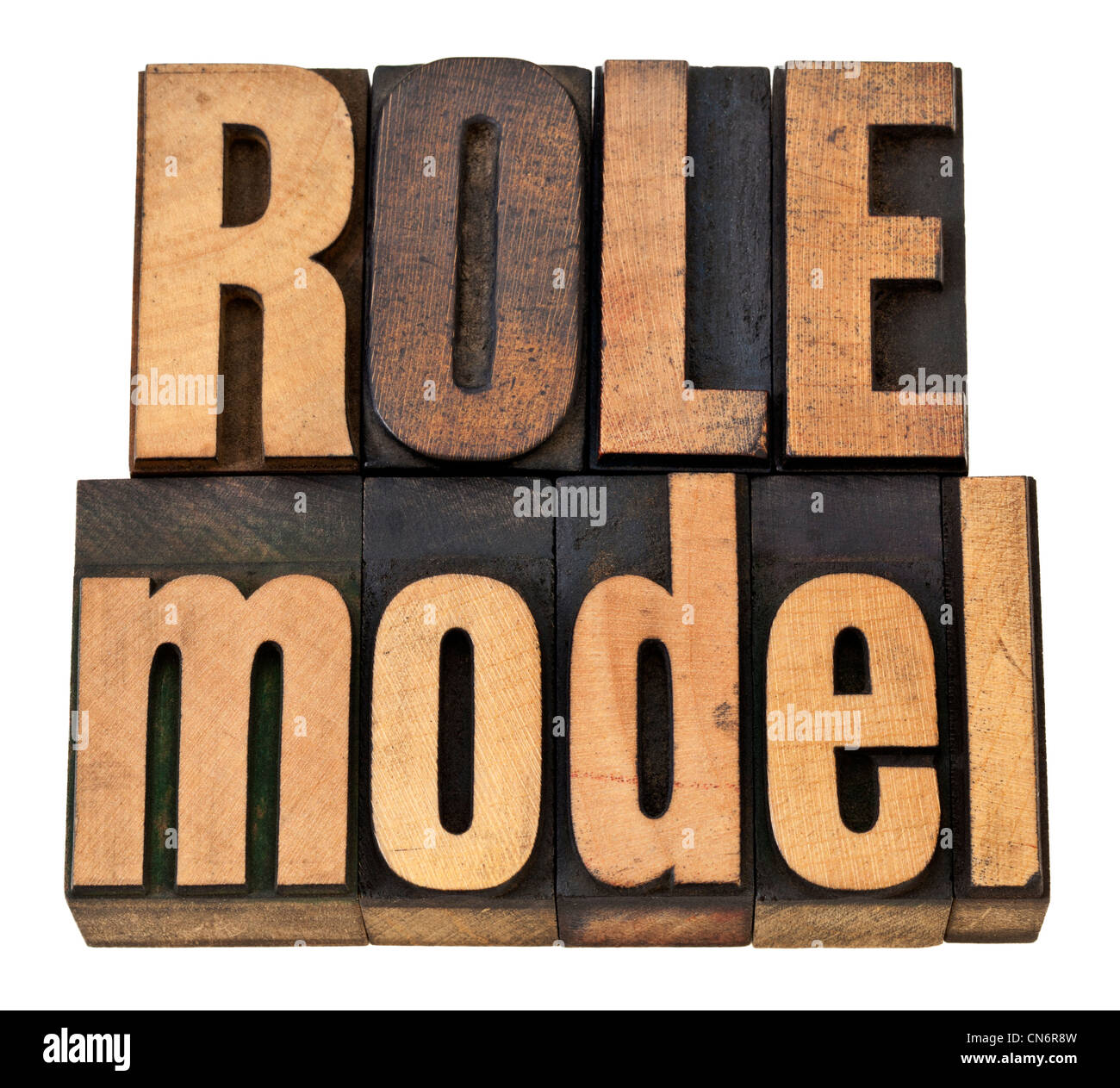 role model - leadership concept - isolated phrase in vintage letterpress wood type - Stock Image