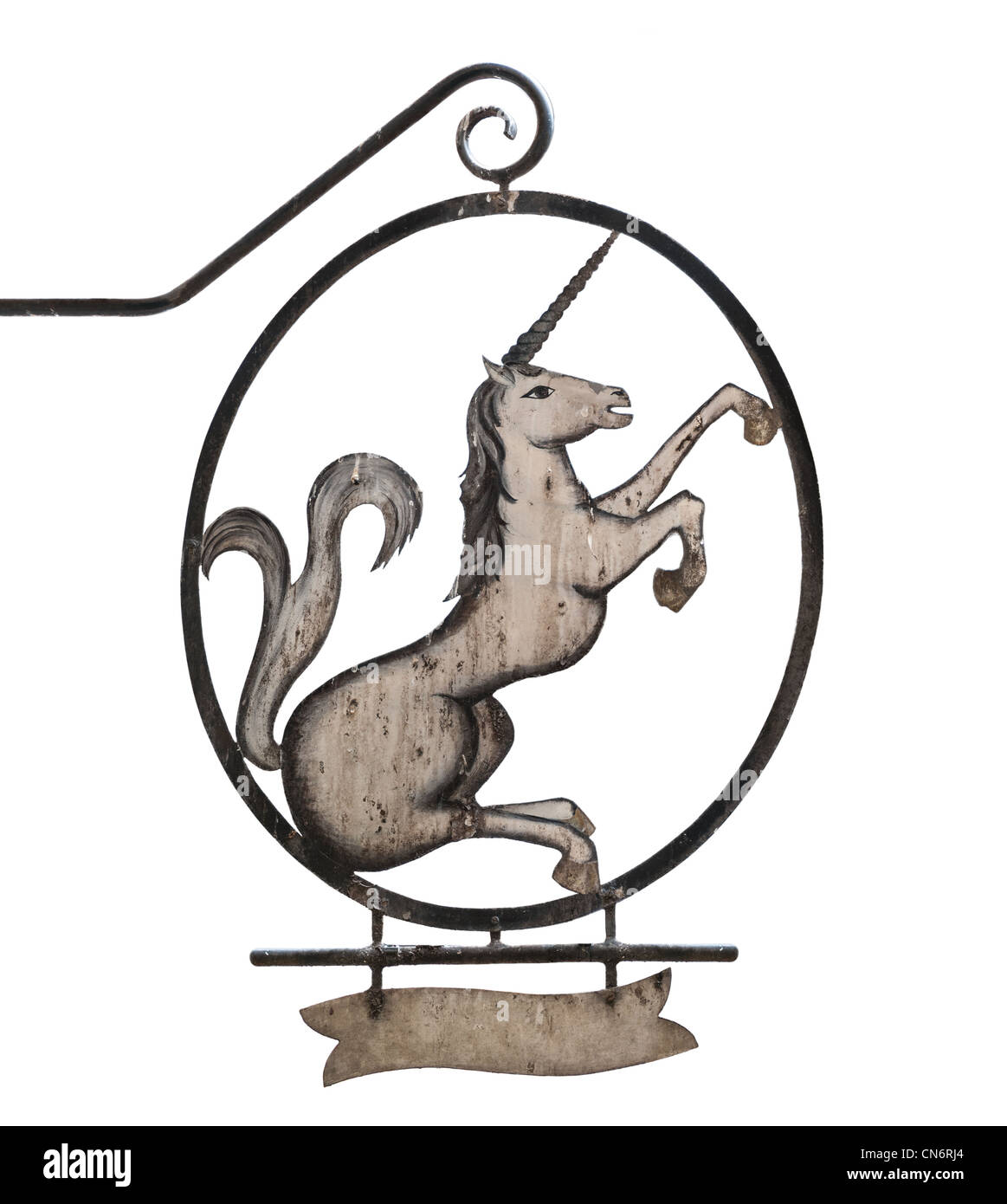 Old medieval sign of tavern, pub, bar or shop depicting unicorn. Isolated on white background, place for text under - Stock Image