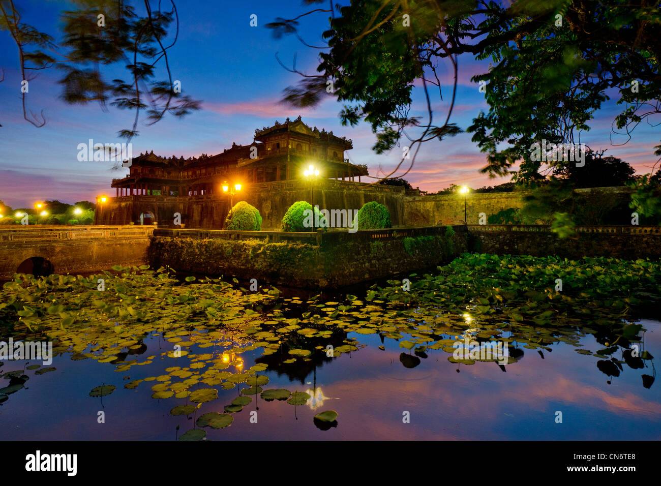 Entrance to the Imperial City at Twilight, Hue, Vietnam - Stock Image