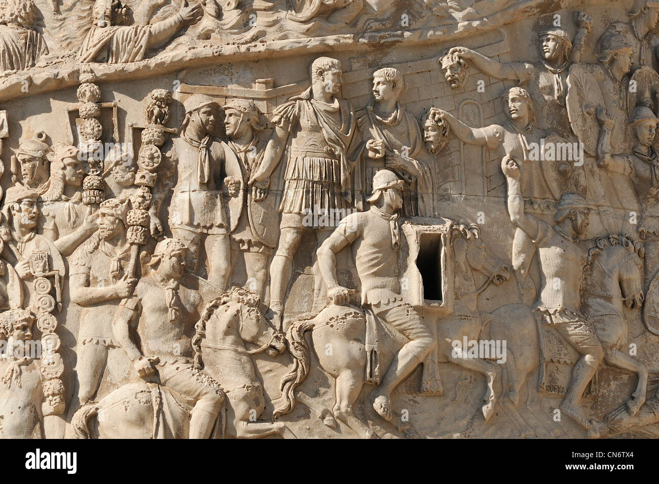 Rome. Italy. Trajan's Column (AD 113). Details of scenes depicting the Emperor Trajan's two campaigns in - Stock Image