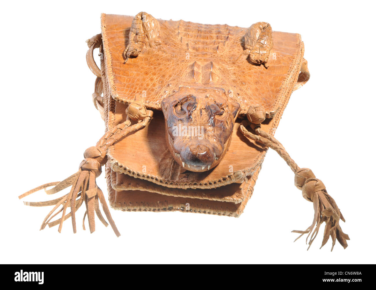 crocodile leather handbag - illegal endangered species product from CITES list - Stock Image