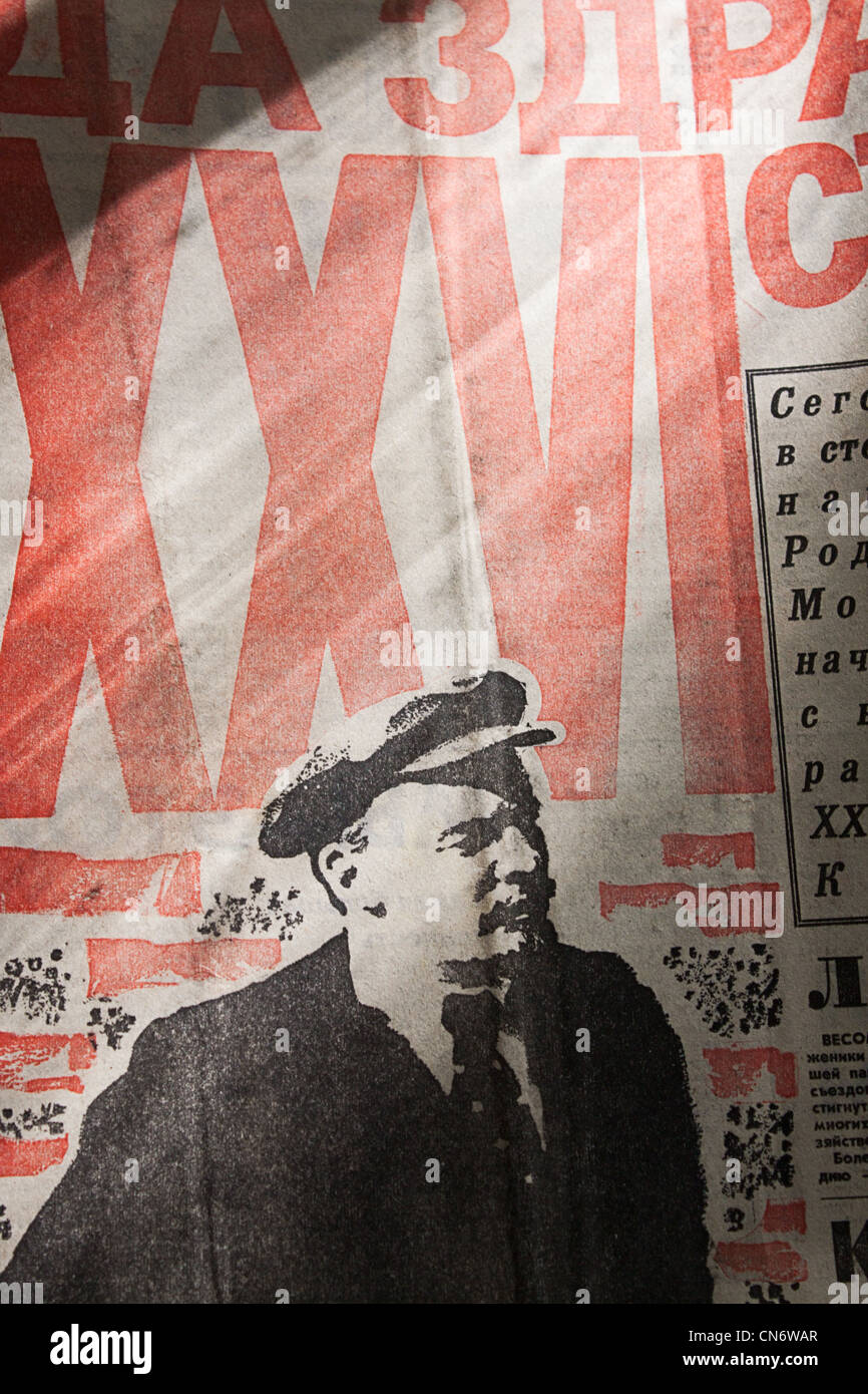 The newspaper with a portrait of Lenin to the discovery of the XXVI Congress of the CPSU 1981 - Stock Image