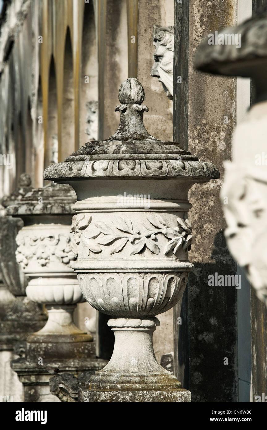 Ornate antique urns. - Stock Image
