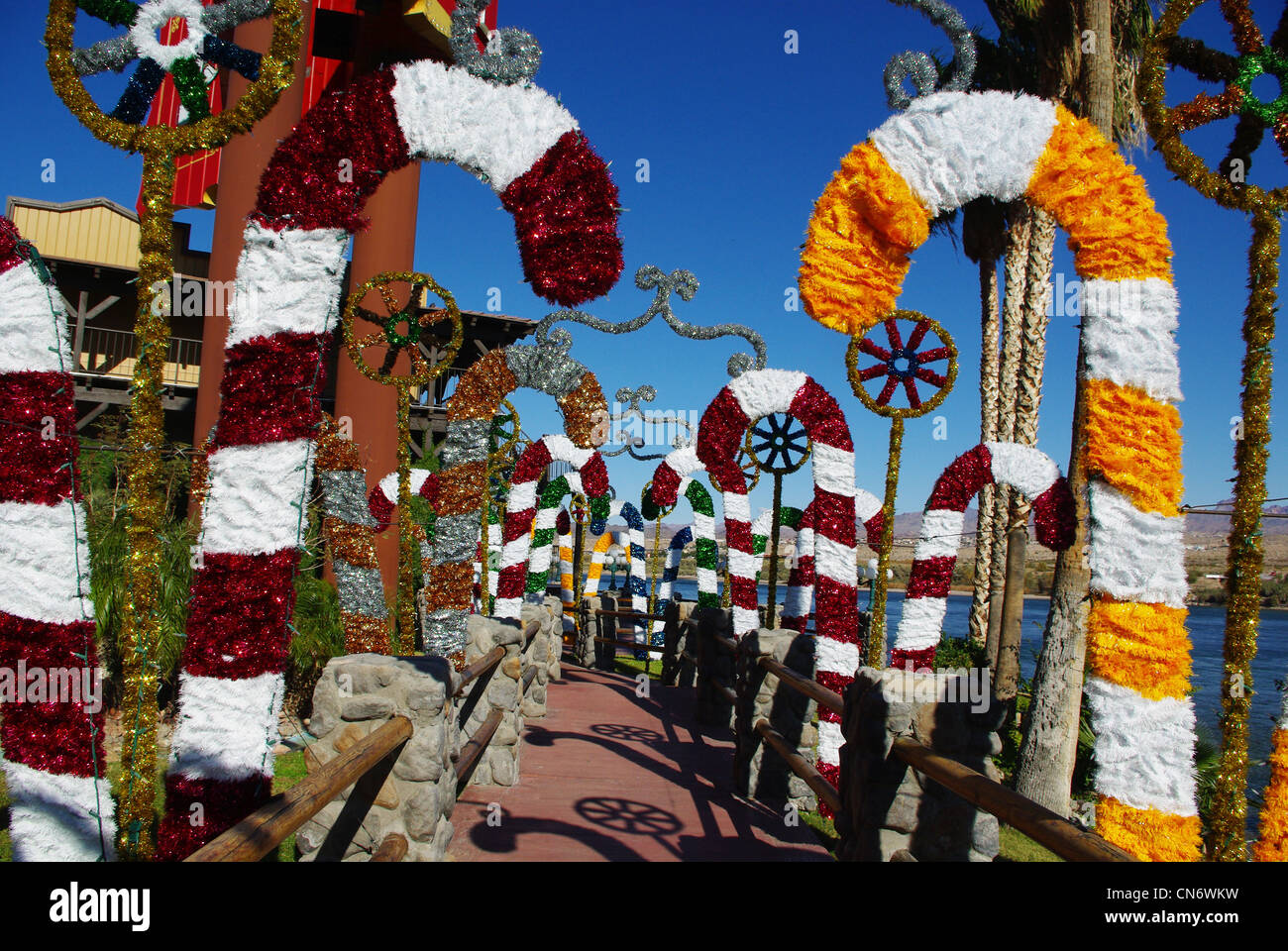 christmas decorations on colorado river in laughlin nevada stock image