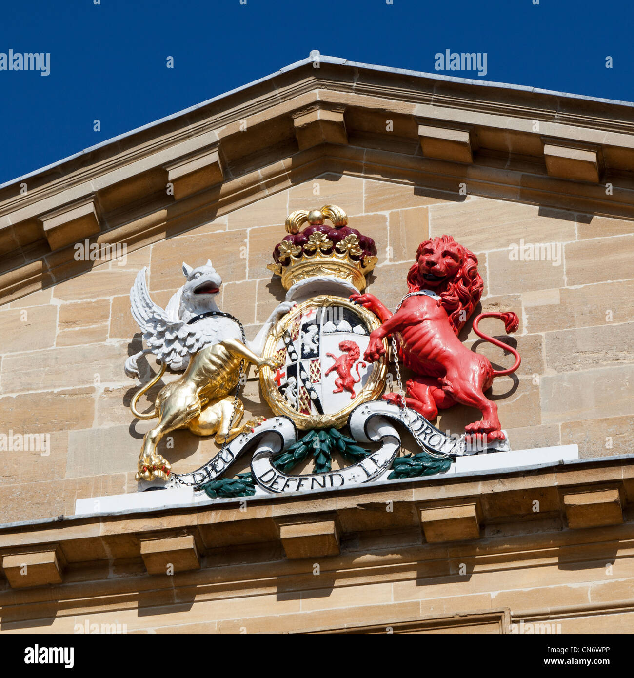 Crest on town hall, Woodstock, Oxfordshire, UK - Stock Image