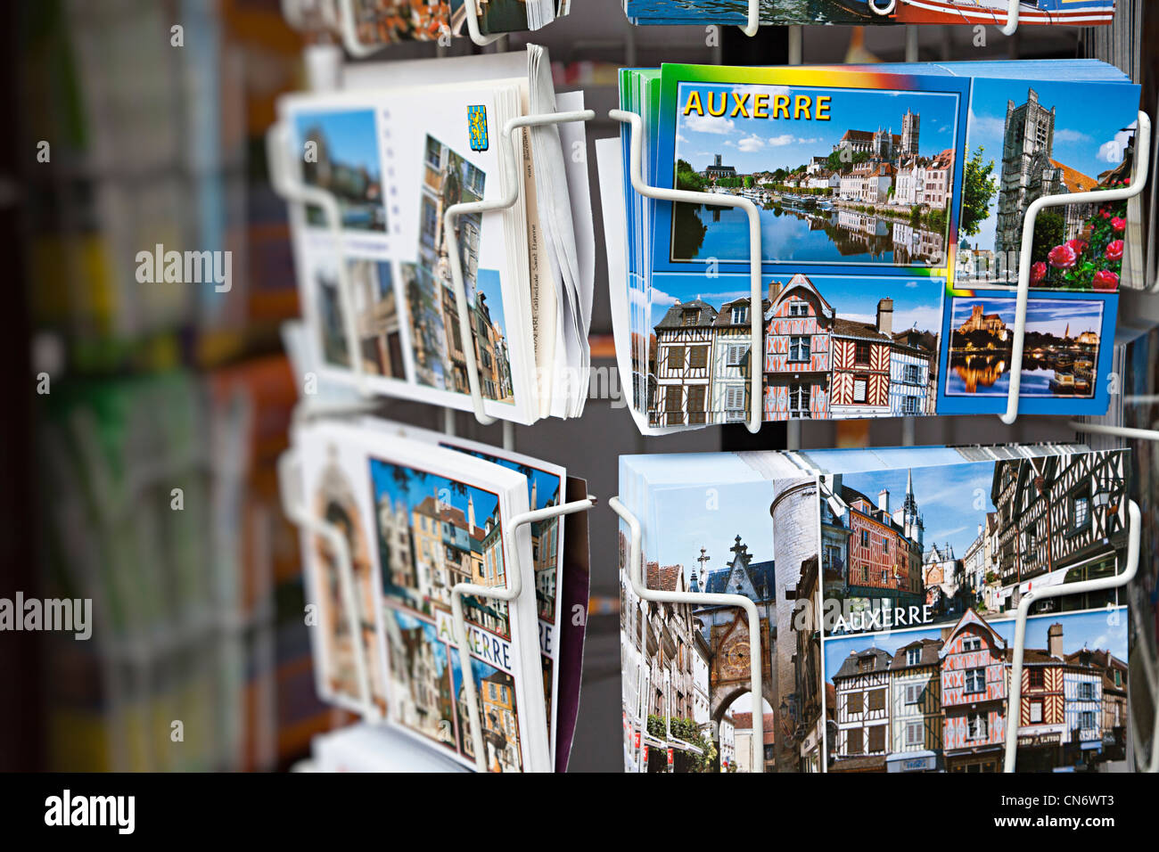 Postcards on sale, Auxerre, Burgundy, France - Stock Image