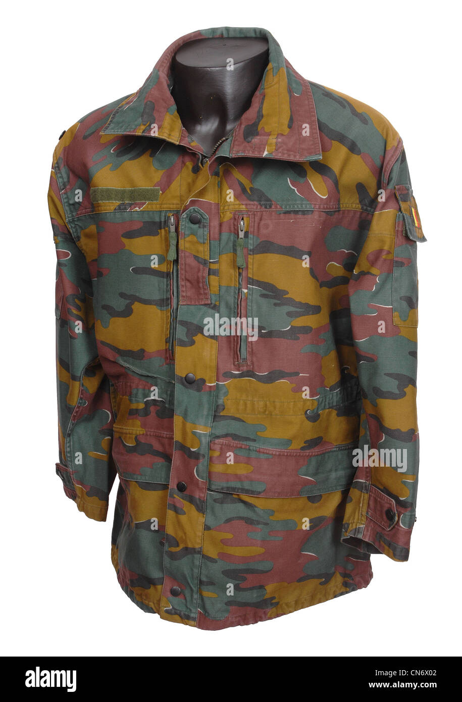 Camouflage clothing as used by military forces Belgian Jigsaw camo - Stock Image