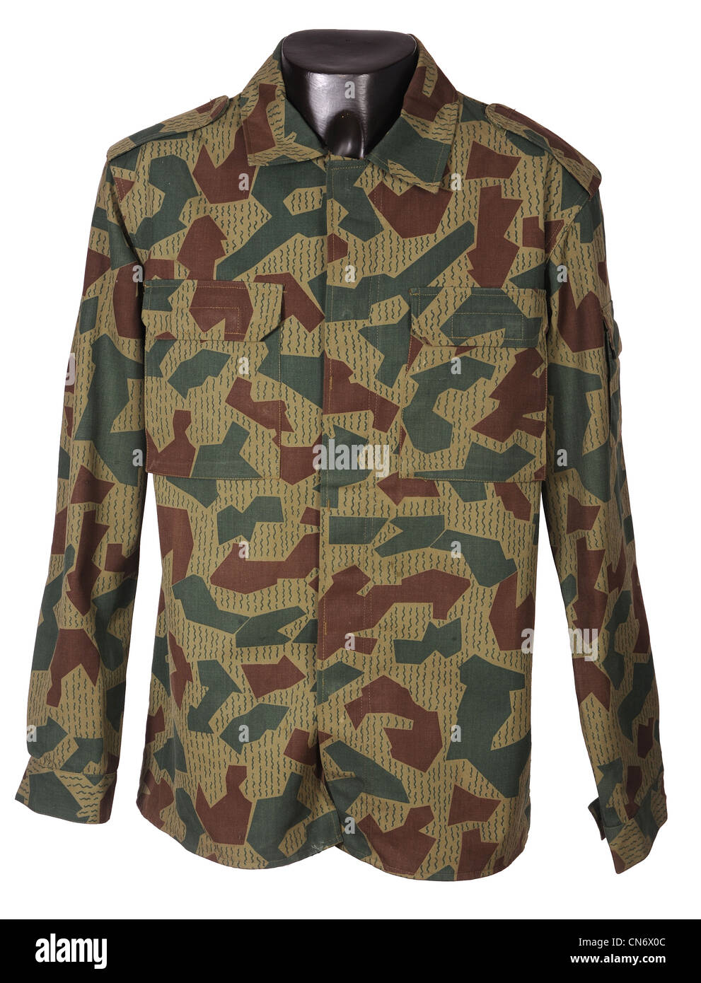 Camouflage clothing as used by military forces Bulgarian splinter camo - Stock Image
