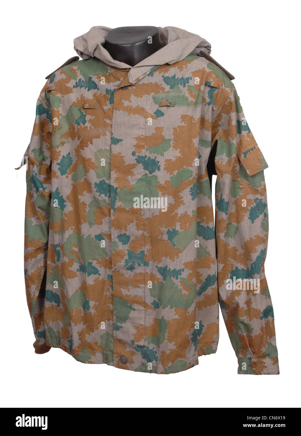 Camouflage clothing as used by military forces. Early NVA East German DDR Blumentarn camo smock - Stock Image
