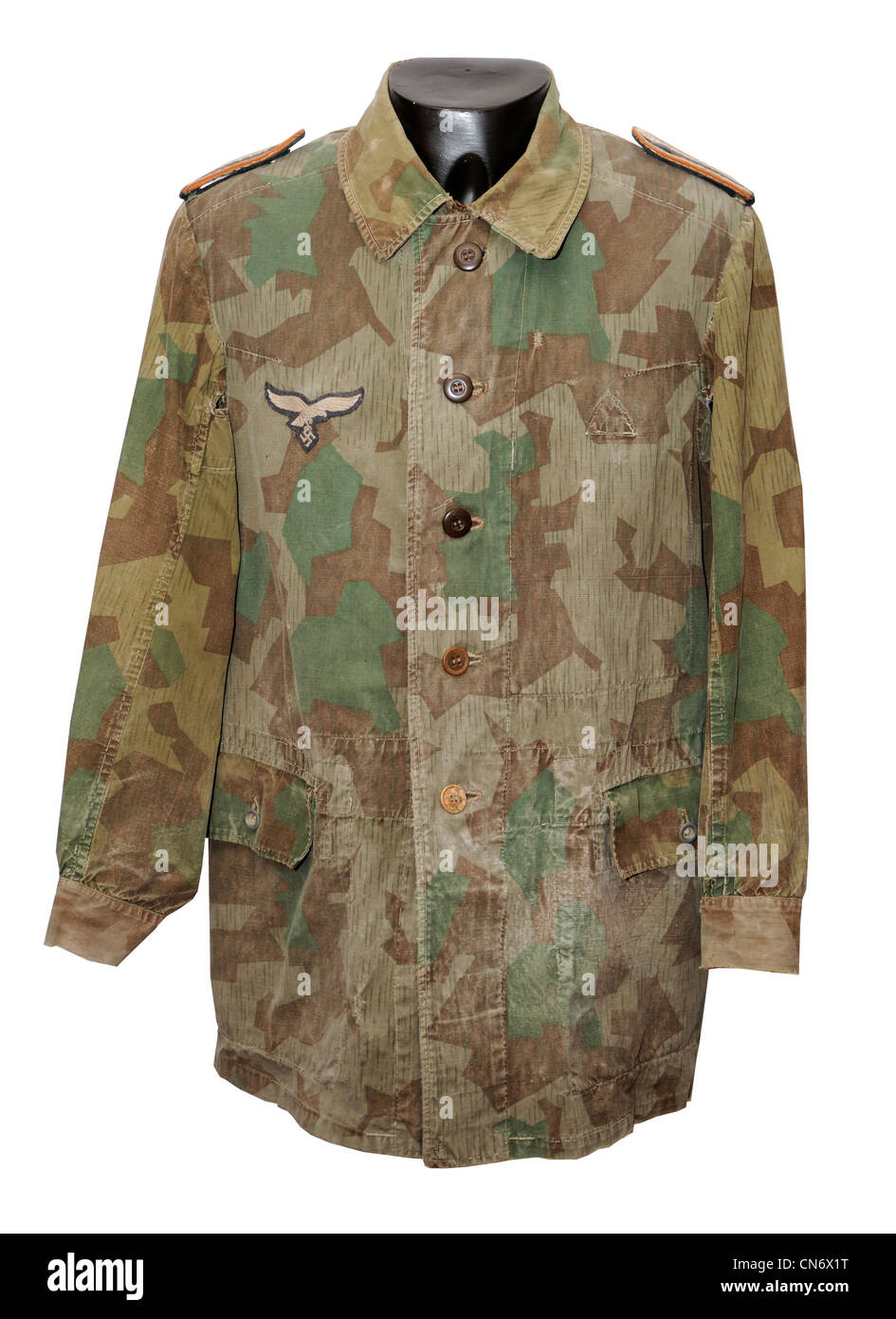 Camouflage clothing as used by military forces. WW11 German Luftwaffe ground troops camo - Stock Image