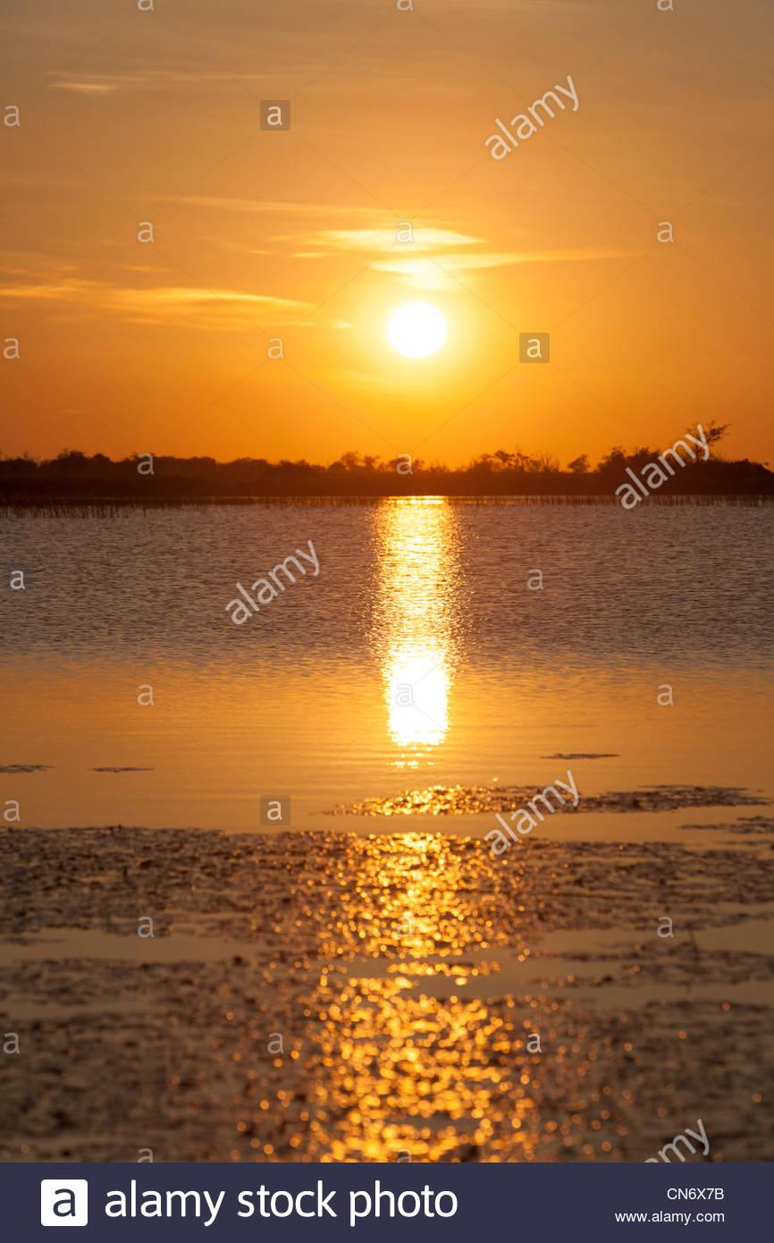 Sunset at Okavango delta. Botswana - Stock Image