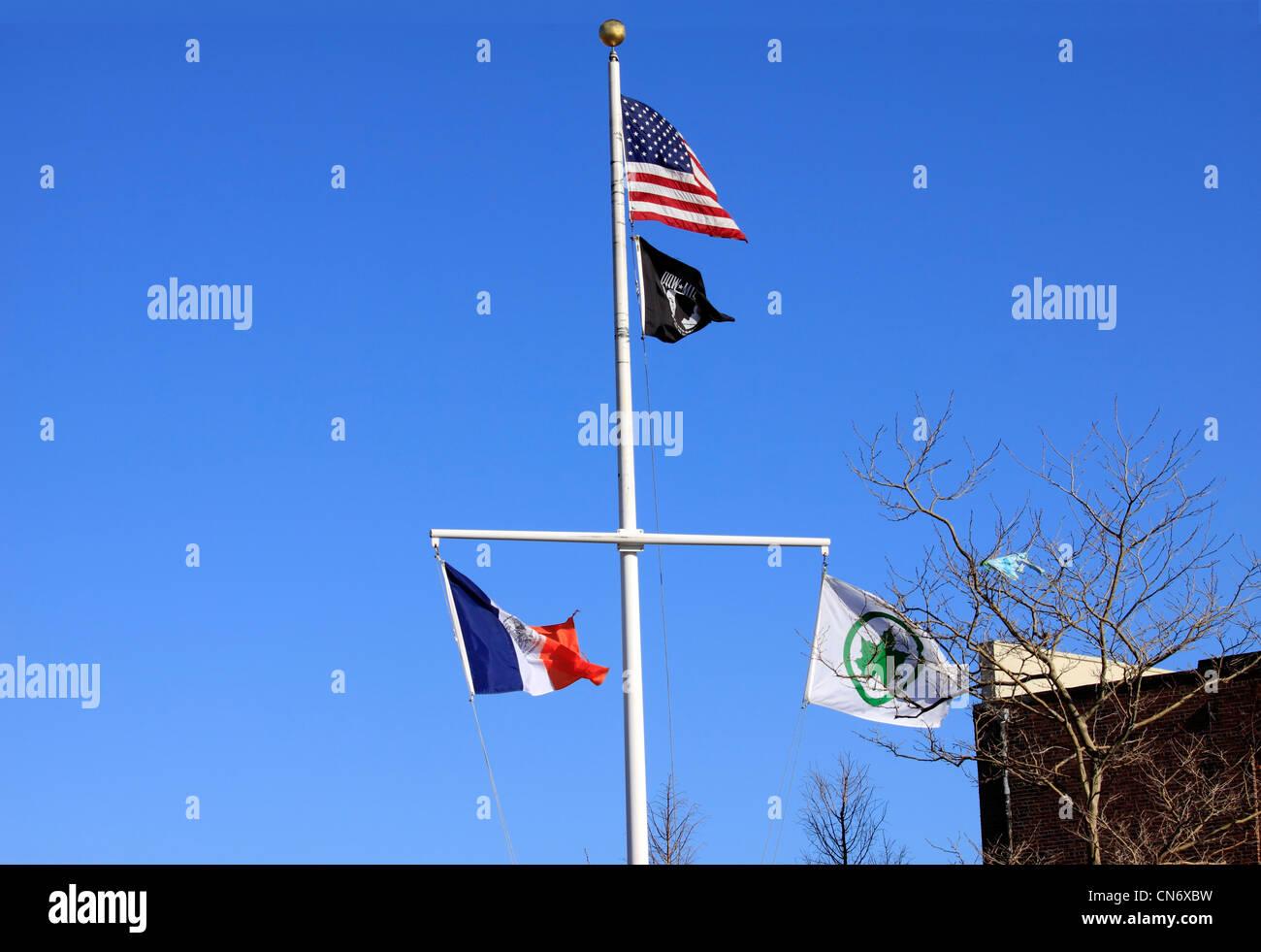 Flagpole Brooklyn New York City - Stock Image