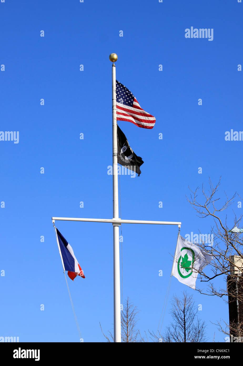 Flagpole Brooklyn New York - Stock Image