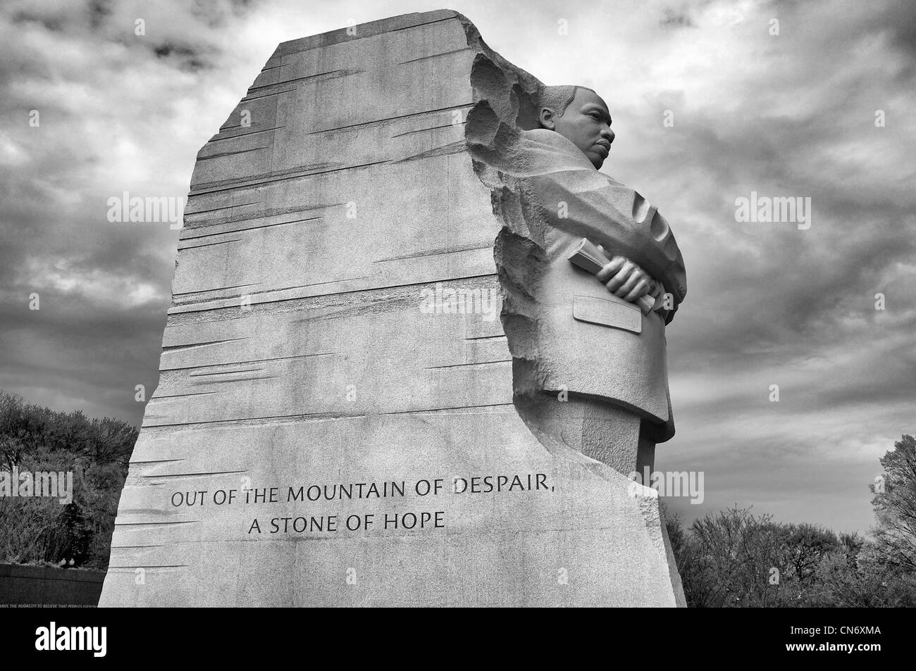 Martin luther king jr memorial in washington dc in black and white