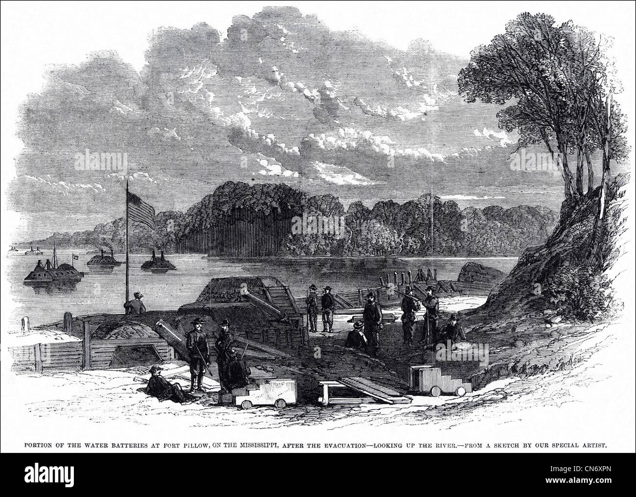 American Civil War 1861 - 1865 Fort Pillow on the Mississippi River after the evacuation by Confederate soldiers - Stock Image