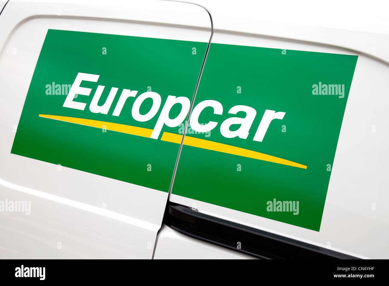Europcar Sign On The Side Of A Europcar Rental Van Uk Stock Photo