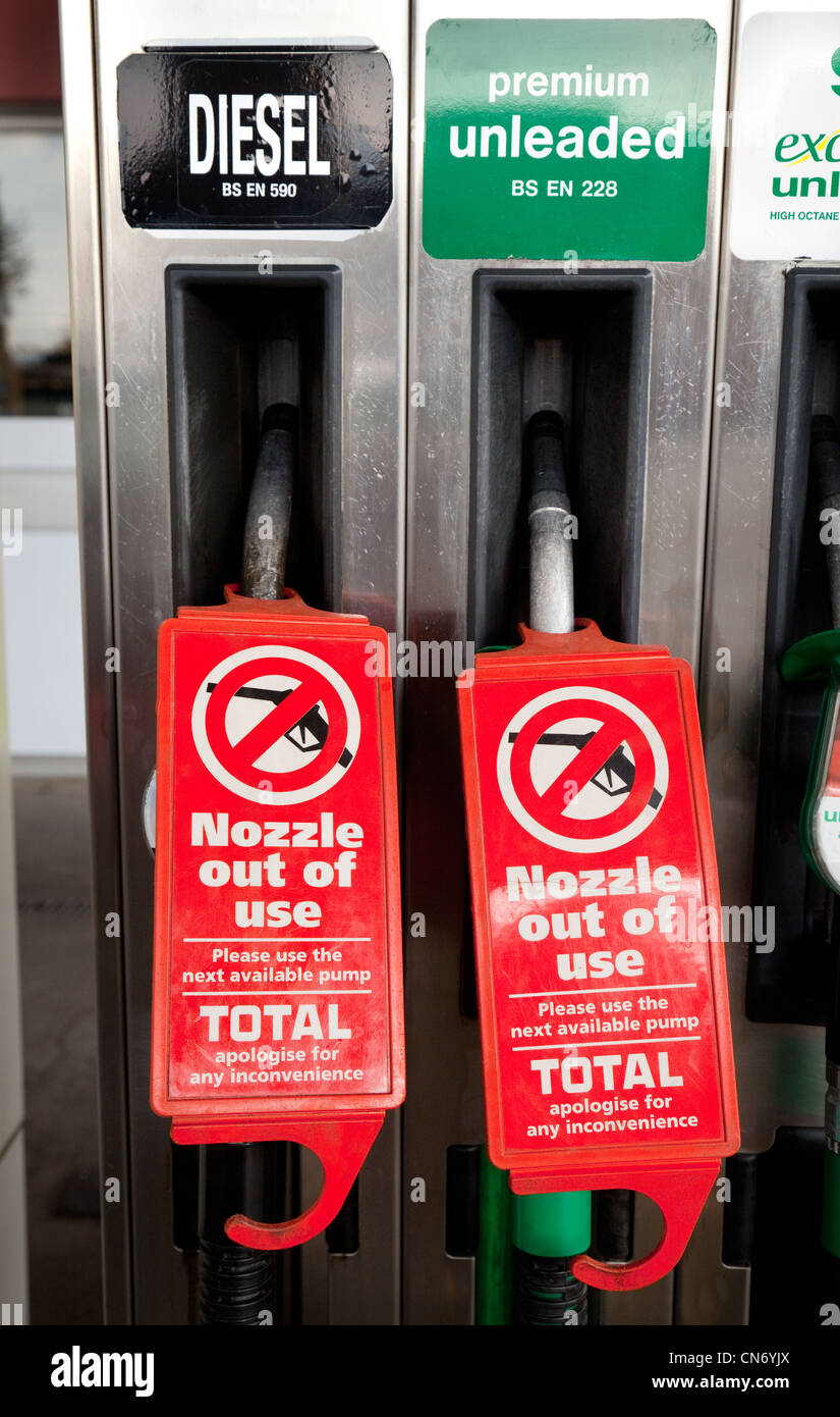 No petrol or diesel fuel in the pumps signs during a fuel shortage, Newmarket Suffolk UK - Stock Image