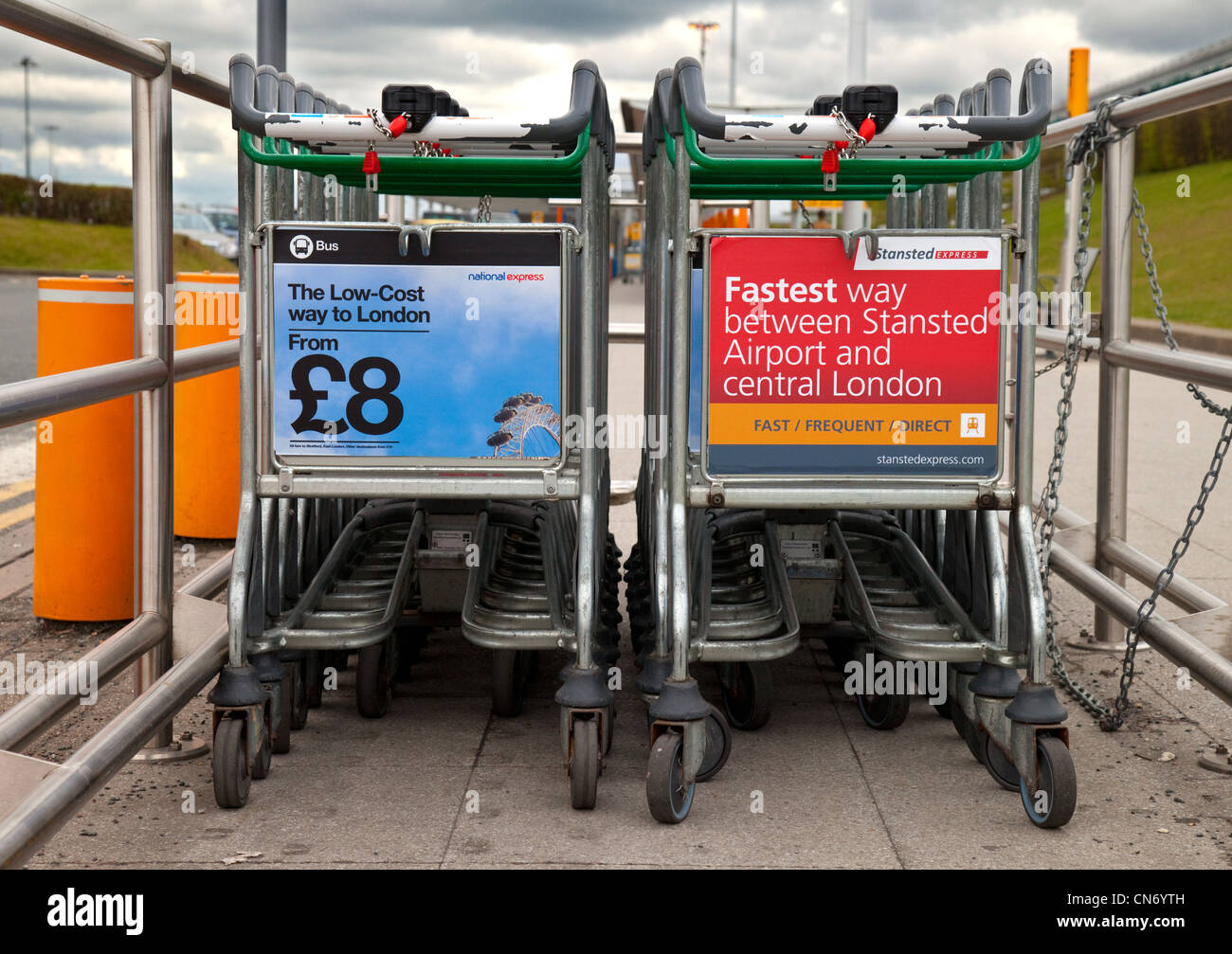 Baggage trollies, Stansted airport Essex UK - Stock Image