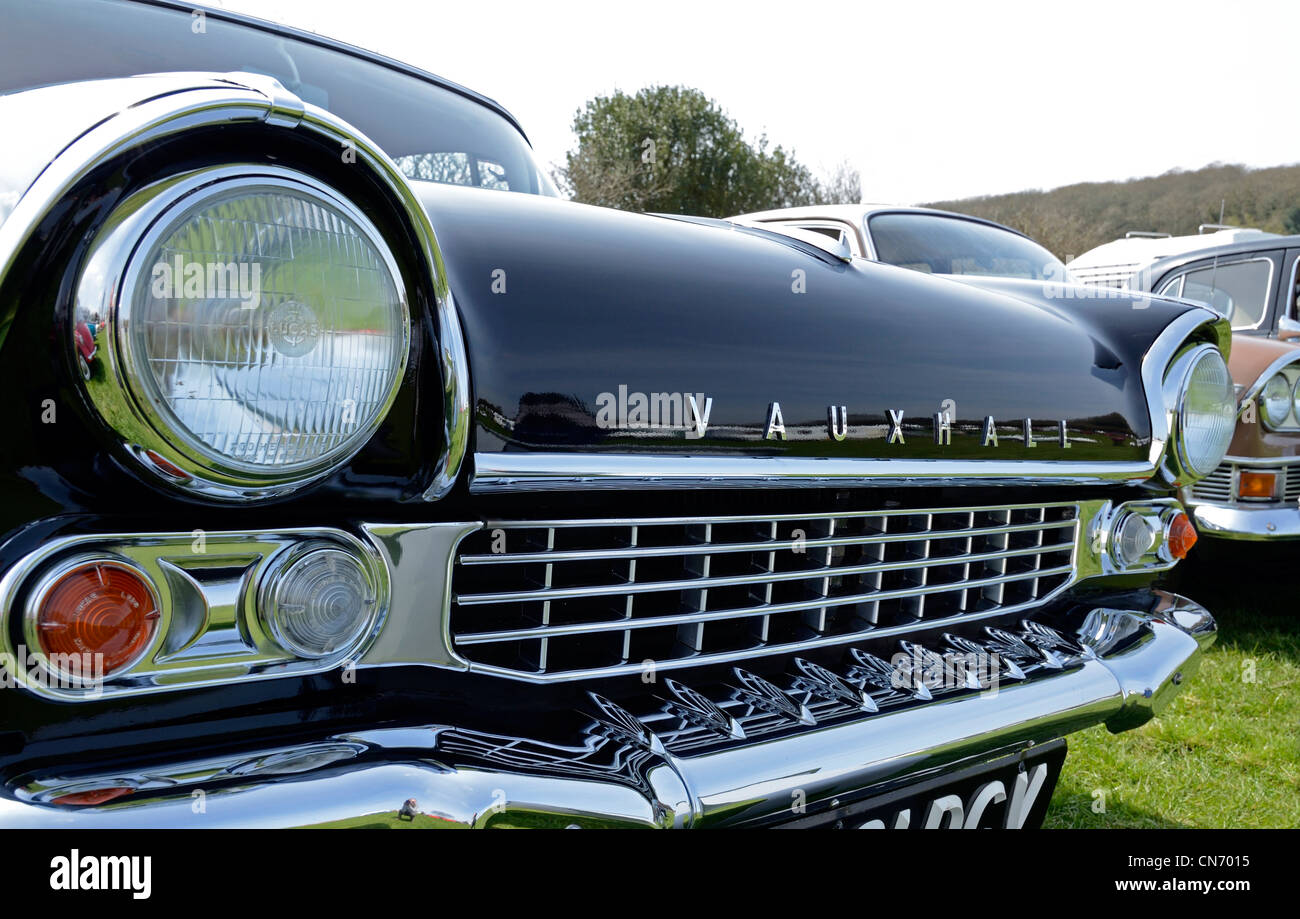 A vintage Vauxhall car at a rally in cornwall, uk - Stock Image
