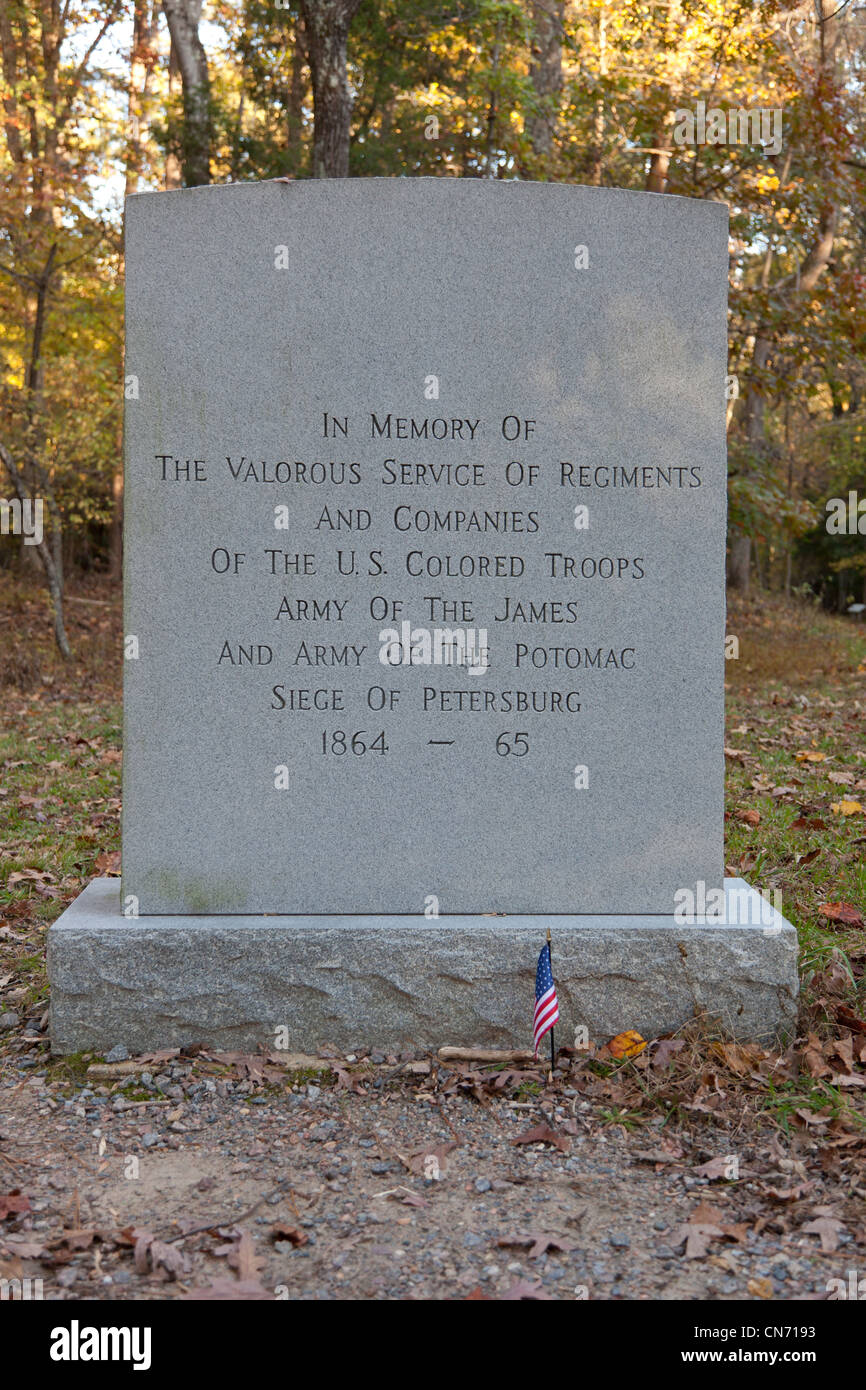 Memorial stone at Petersburg National Battlefield Eastern Front in VirginiaStock Photo