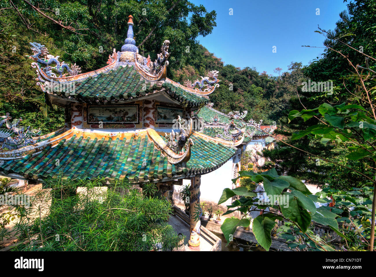 Linh Ong Pagoda roof tops, Thuy Son, Marble mountain (ngu hanh son), Vietnam - Stock Image